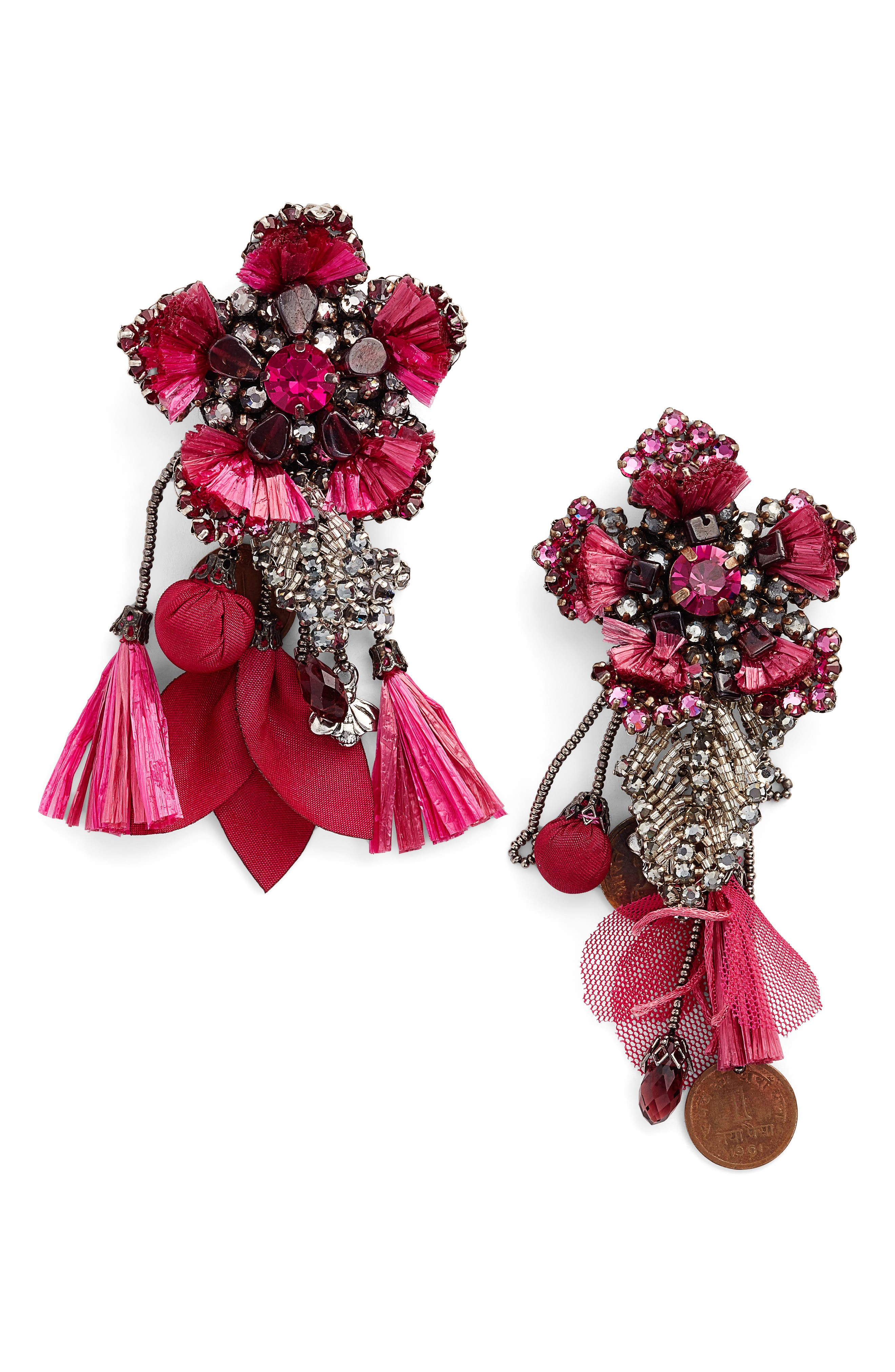 Peony Drop Earrings,                         Main,                         color, Pink