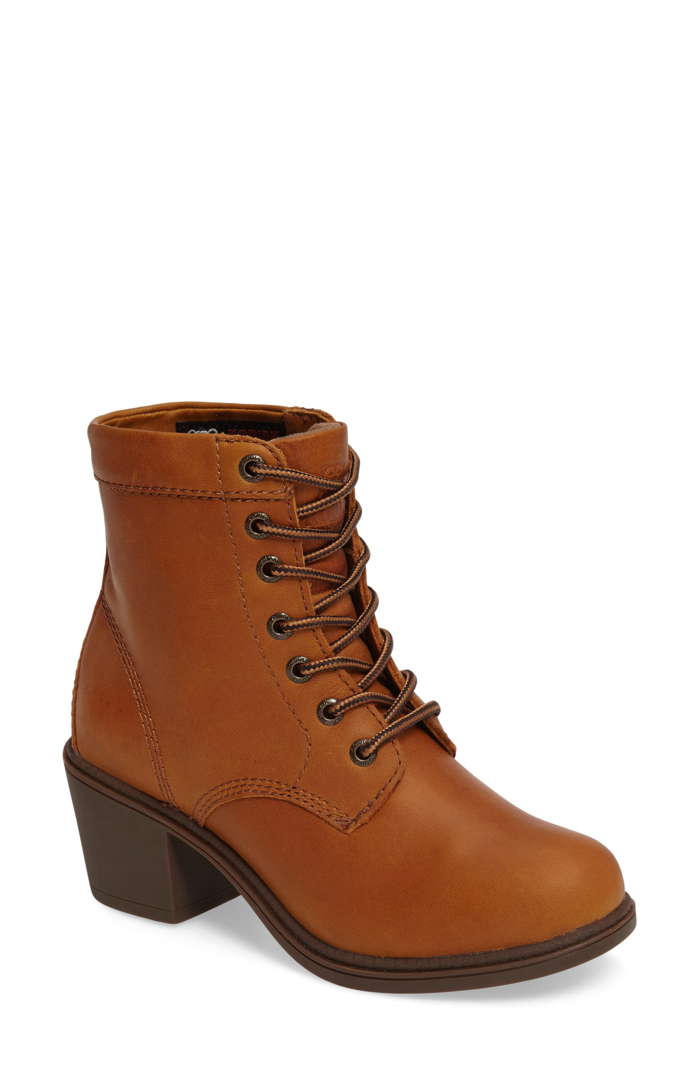 Claire Waterproof Bootie,                             Main thumbnail 1, color,                             Caramel Leather