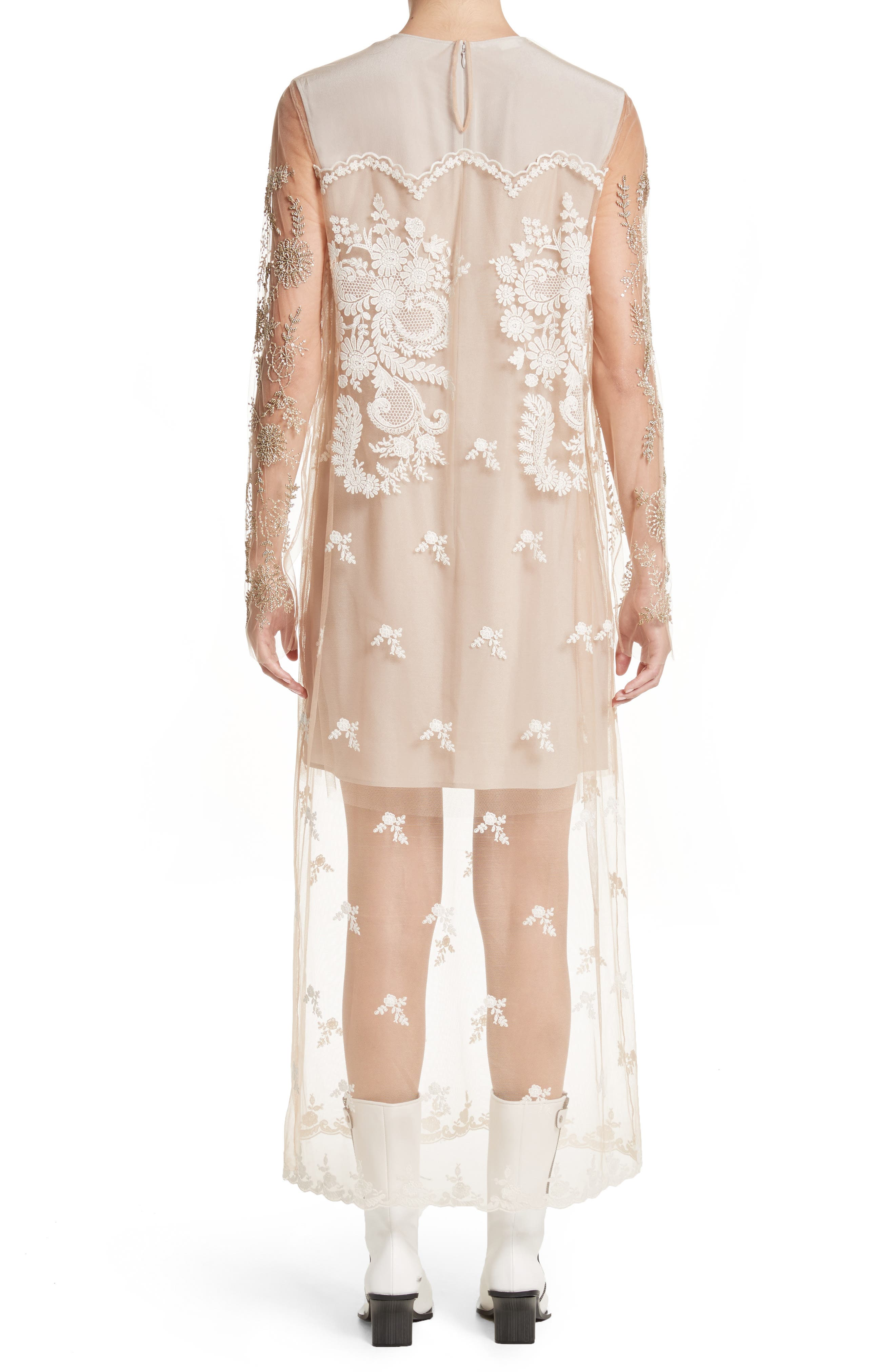 Embroidered Tulle Lace Dress,                             Alternate thumbnail 2, color,                             Camel