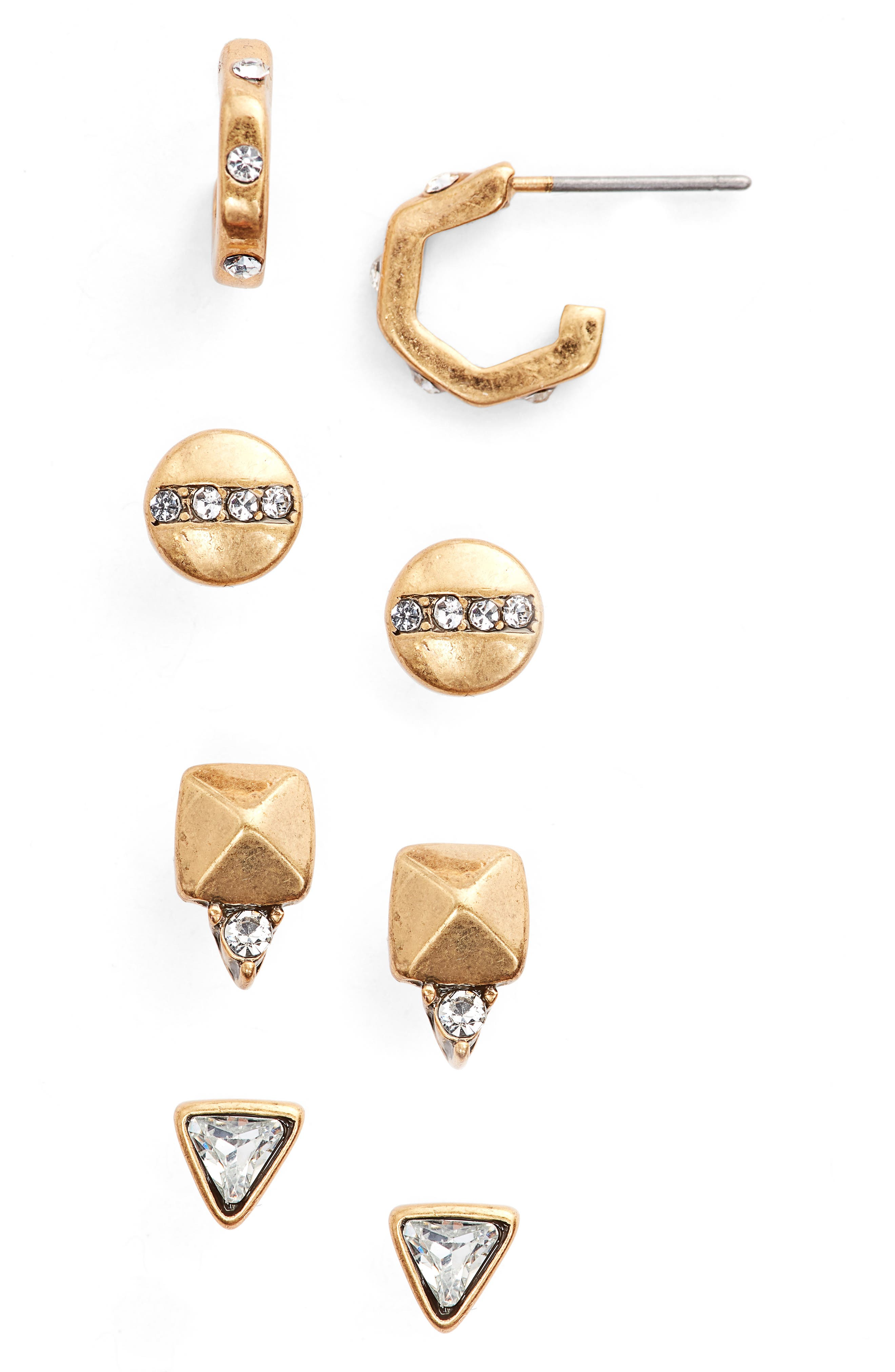 Pack of 4 Stud Earrings,                         Main,                         color, Clear- Gold
