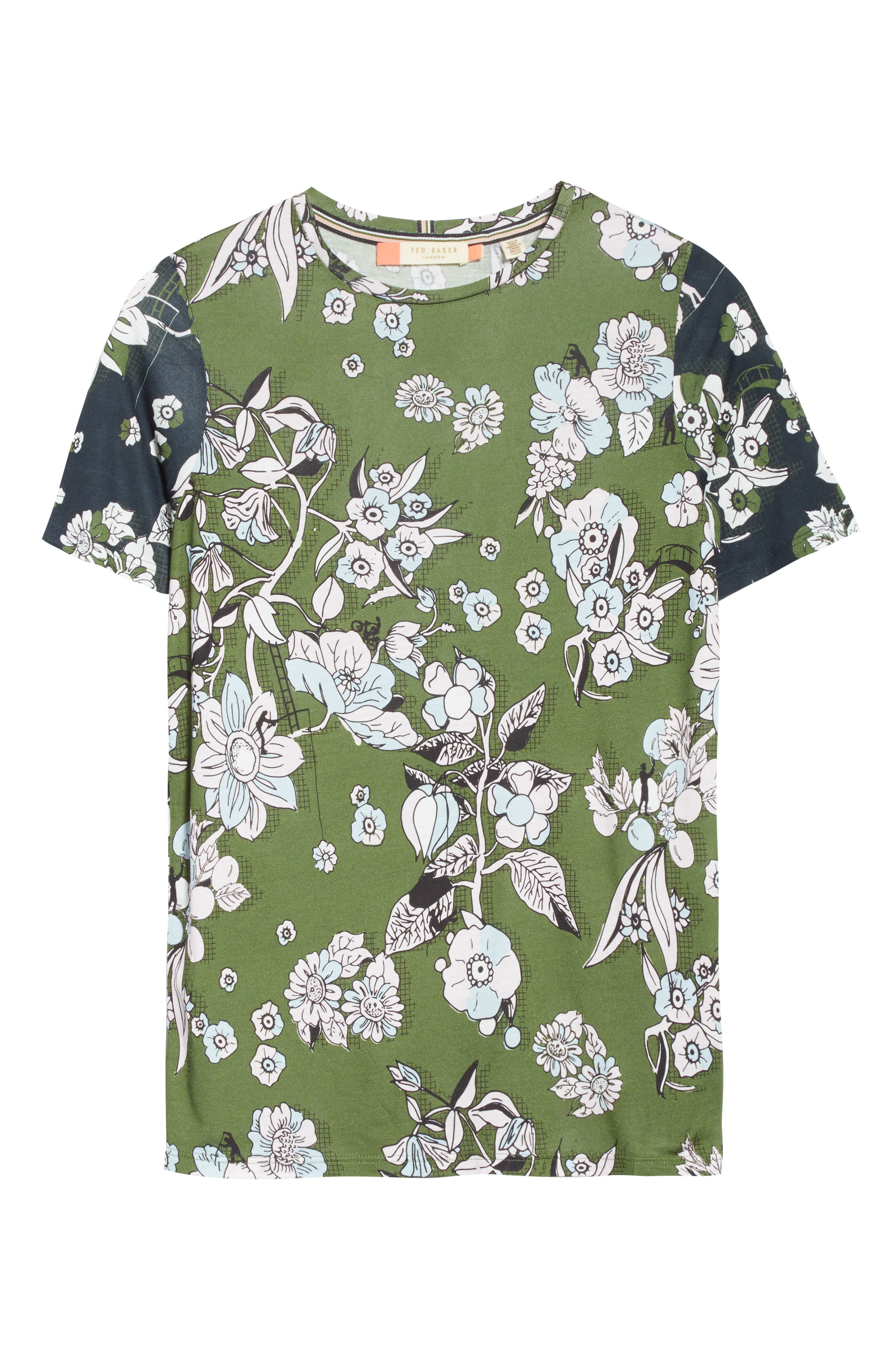 Adren Floral Print Tee,                             Alternate thumbnail 6, color,                             Green