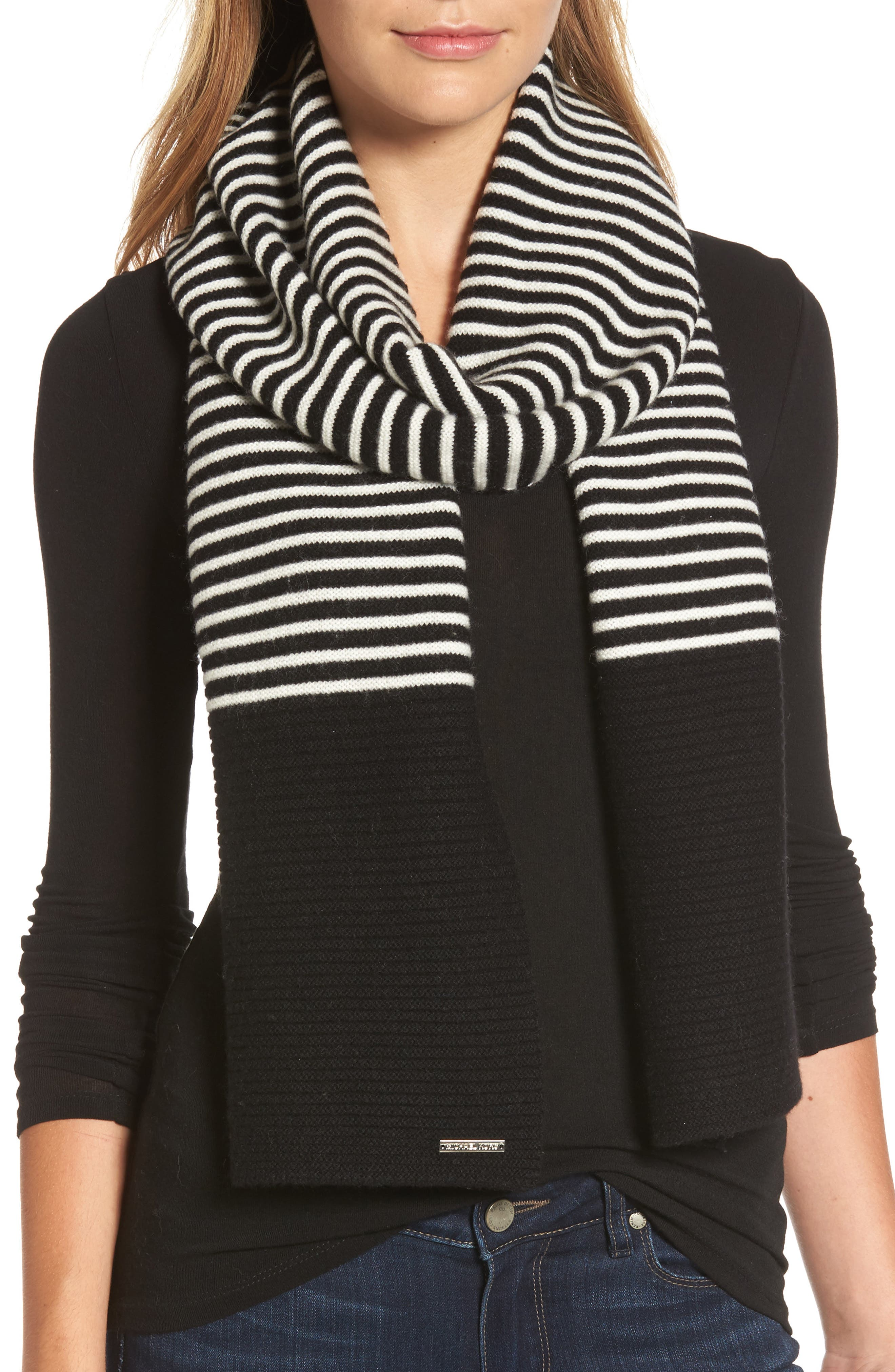 Double Links Wool & Cashmere Scarf,                             Main thumbnail 1, color,                             Black/ Cream