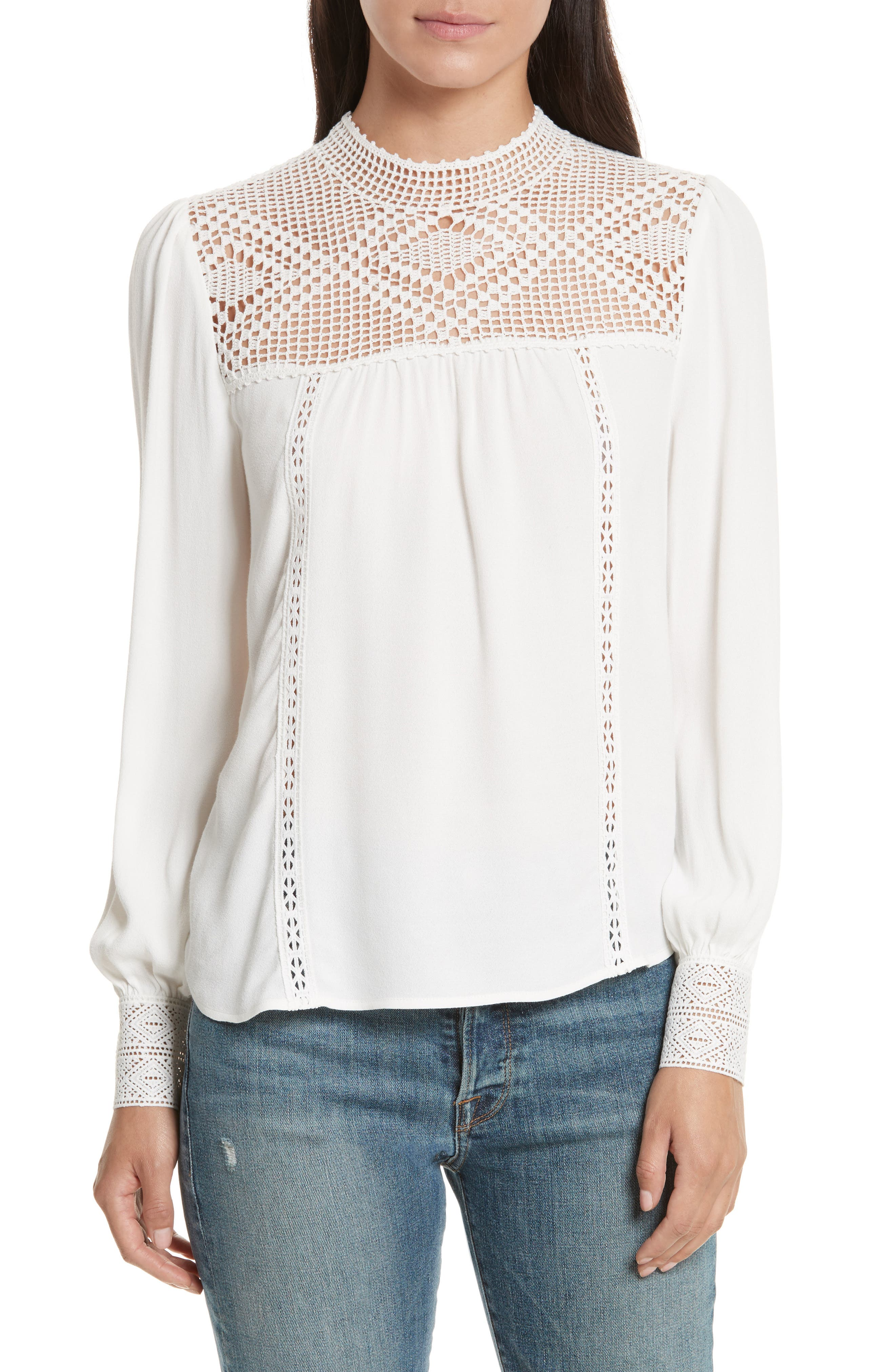 JOIE Ilse Crochet Yoke Top