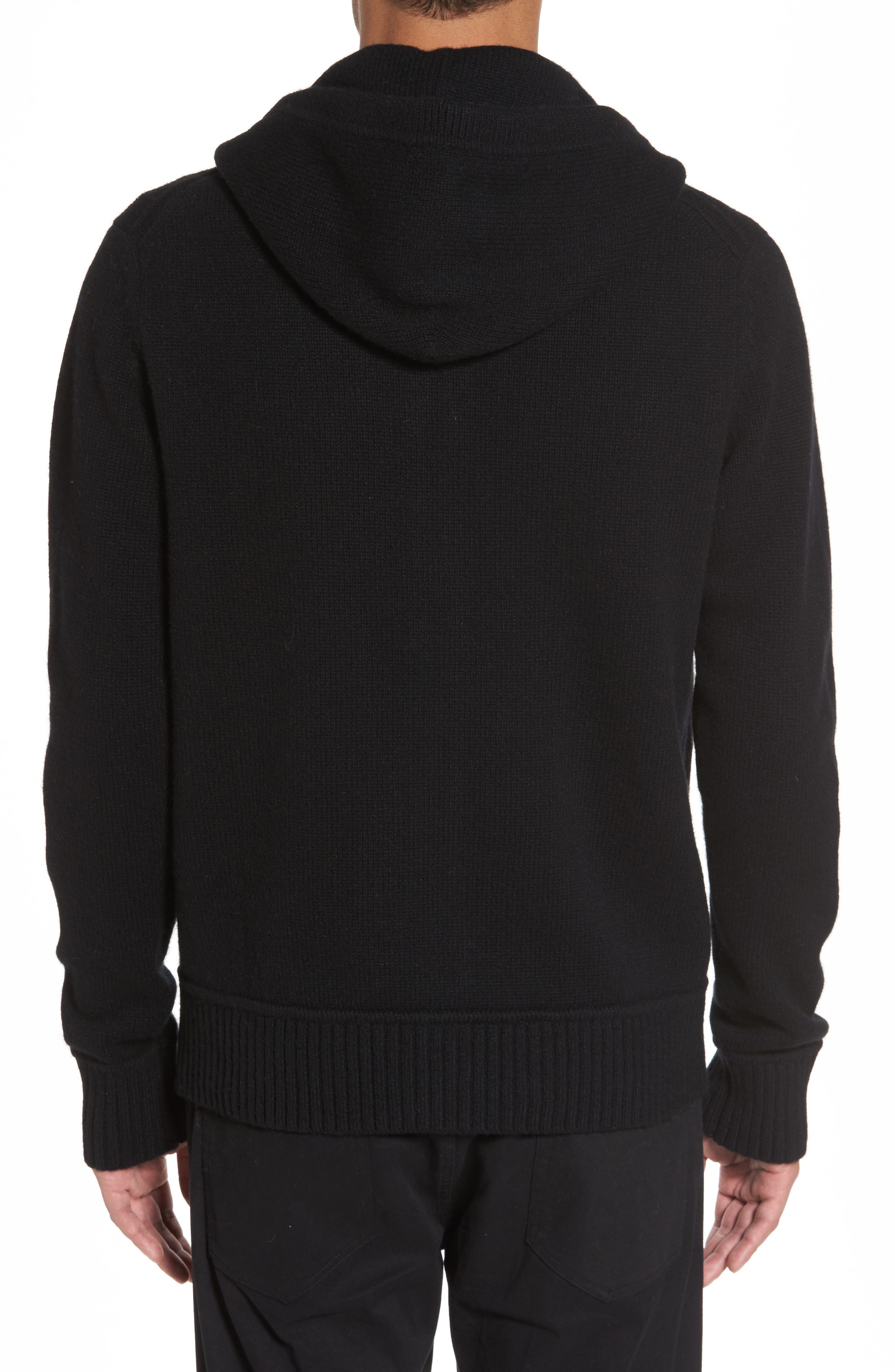 Front Zip Wool & Cashmere Hoodie,                             Alternate thumbnail 2, color,                             Black