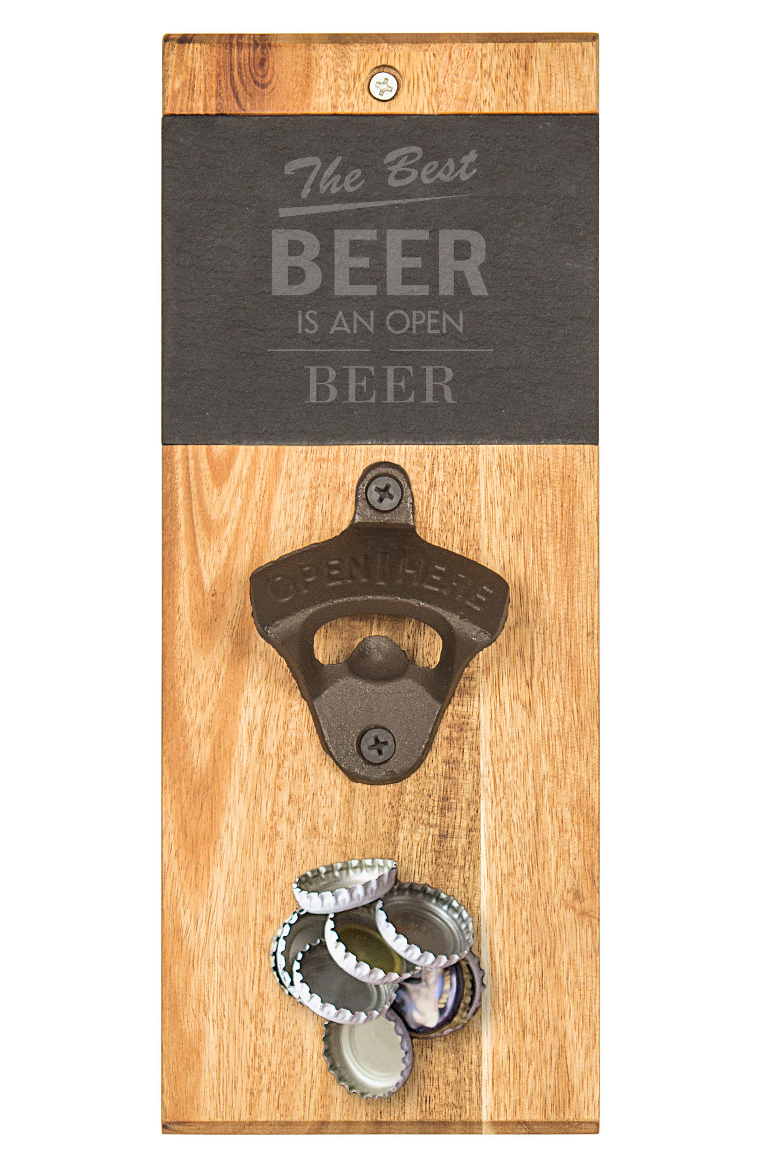 Cathy's Concepts Acacia & Slate Wall Bottle Opener