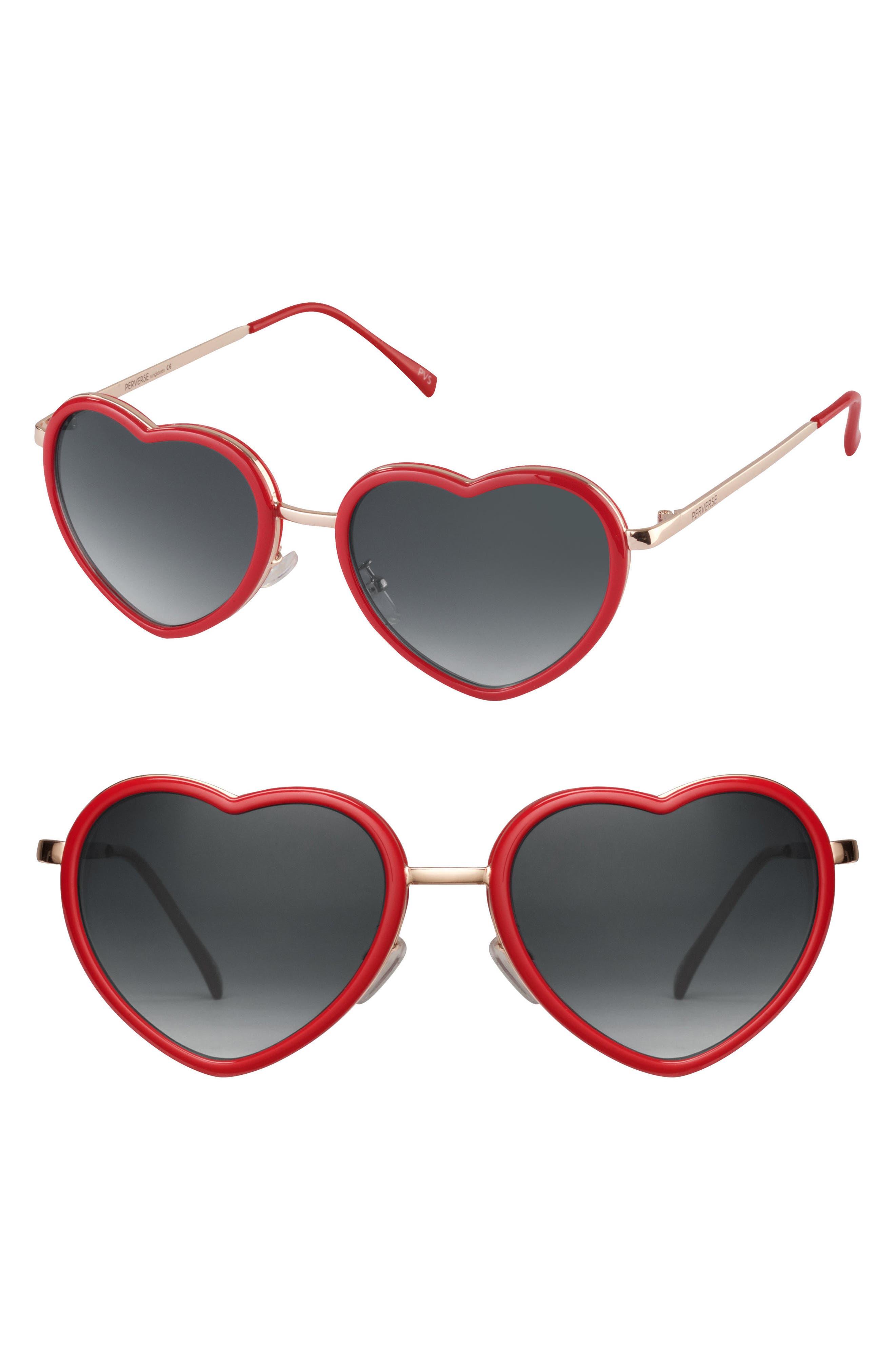 Poipu 52mm Heart Sunglasses,                         Main,                         color, Red/ Black