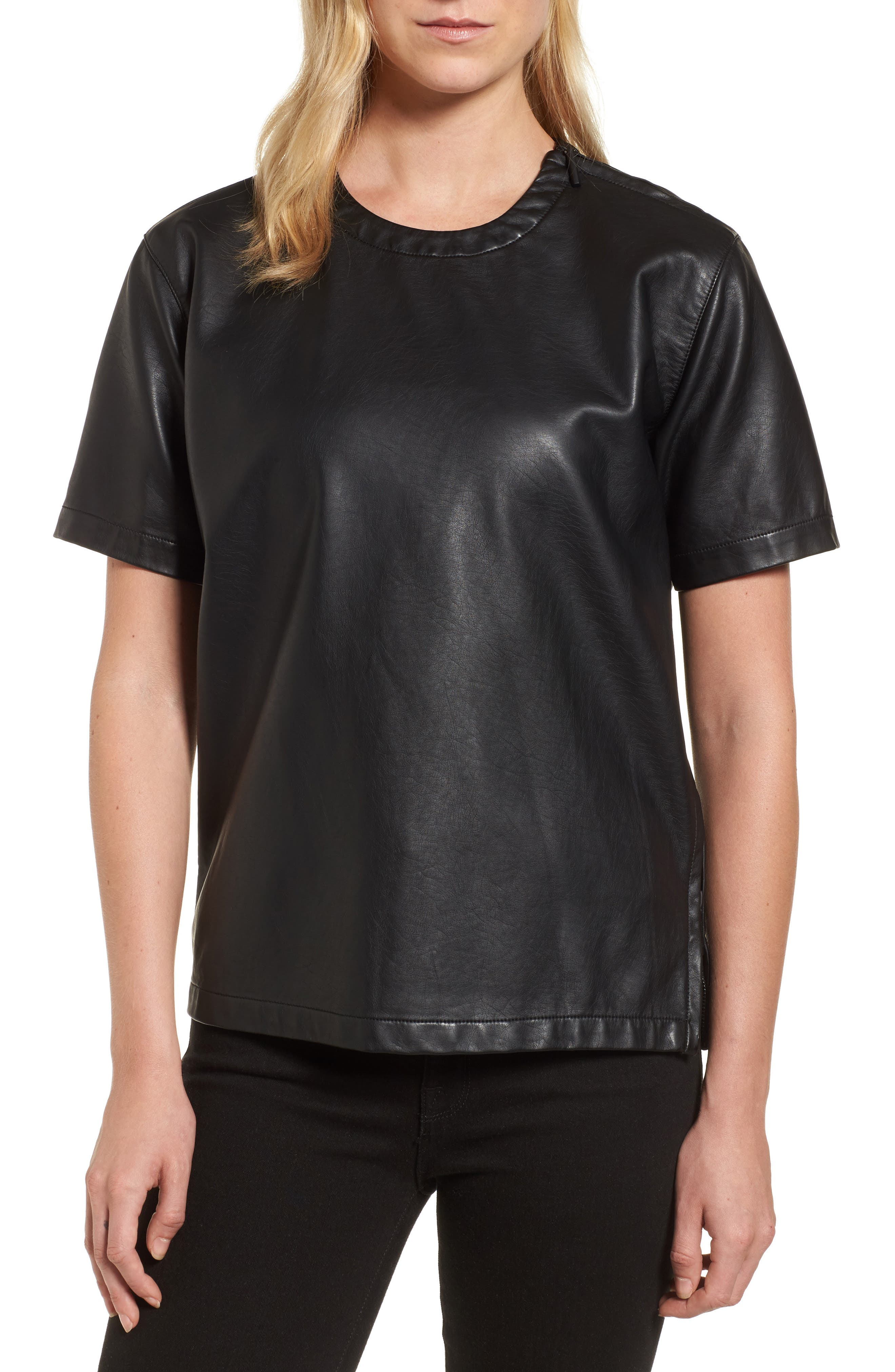 Faux Leather Tee,                         Main,                         color, Black