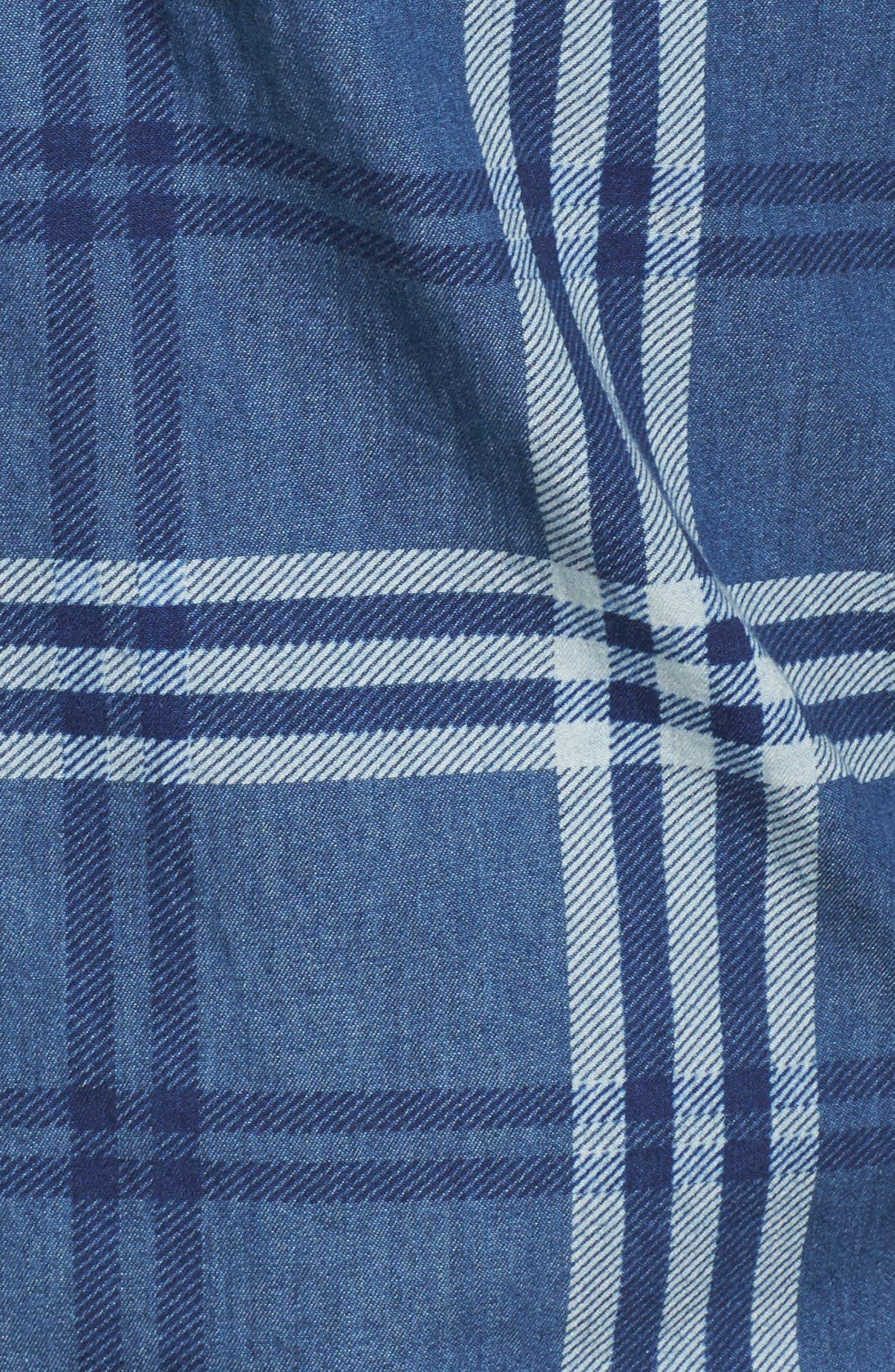 Breckenridge Plaid Sport Shirt,                             Alternate thumbnail 5, color,                             Abyss