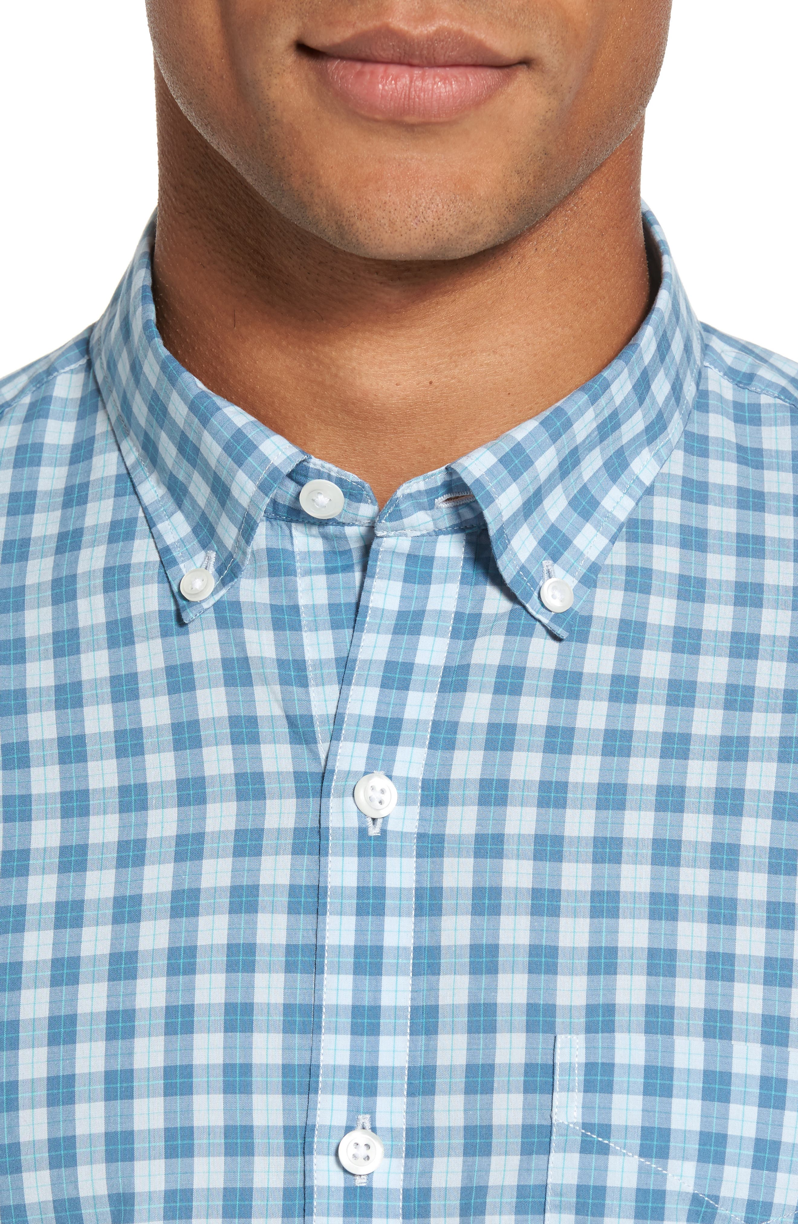 Summerweight Slim Fit Check Sport Shirt,                             Alternate thumbnail 3, color,                             Airway Check
