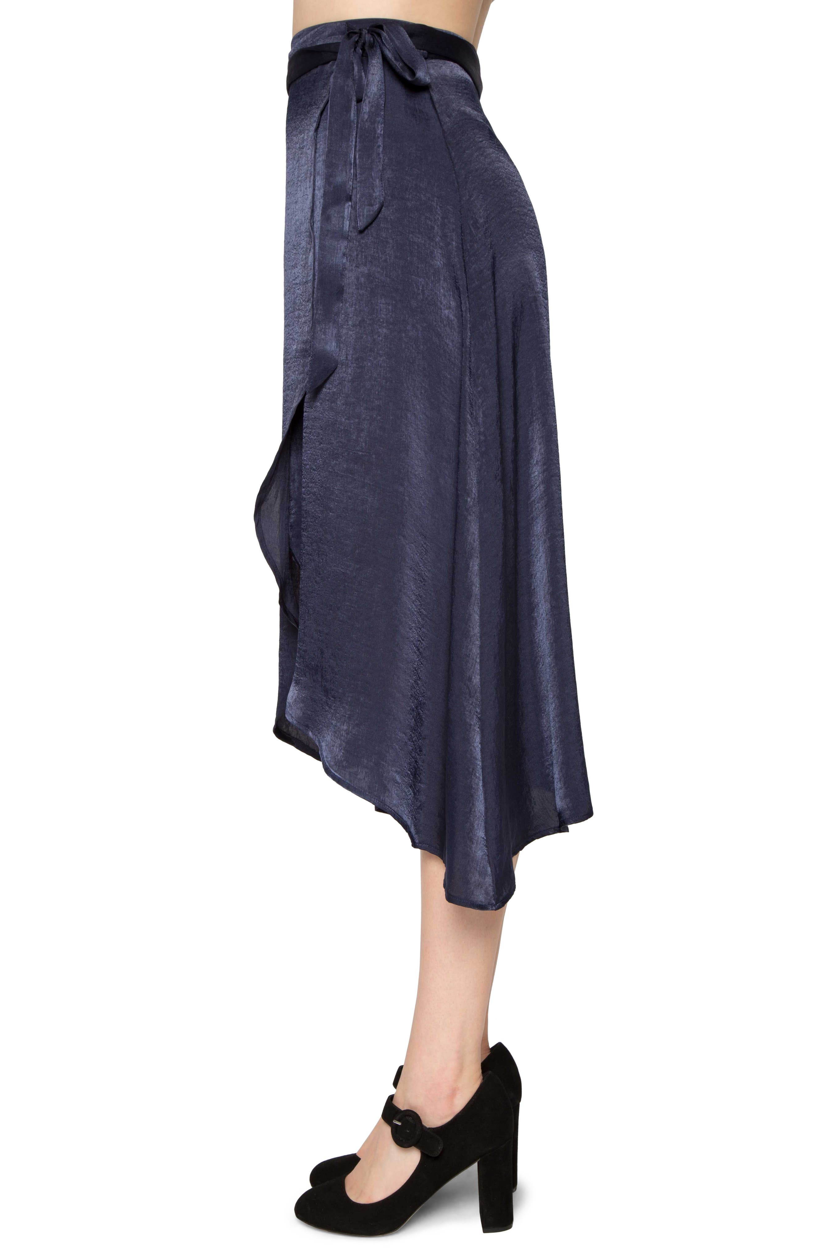 Satin Wrap Skirt,                             Alternate thumbnail 3, color,                             Navy