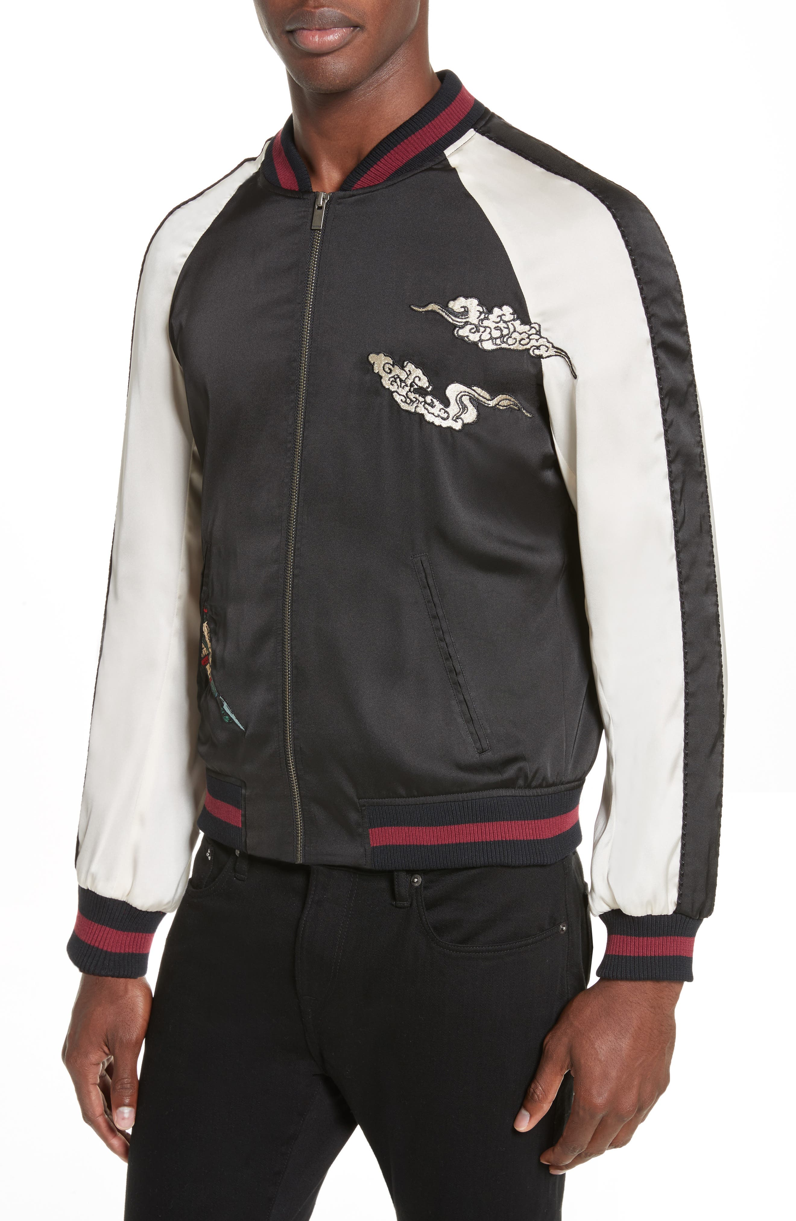 Alternate Image 4  - The Kooples Embroidered Two-Tone Bomber Jacket