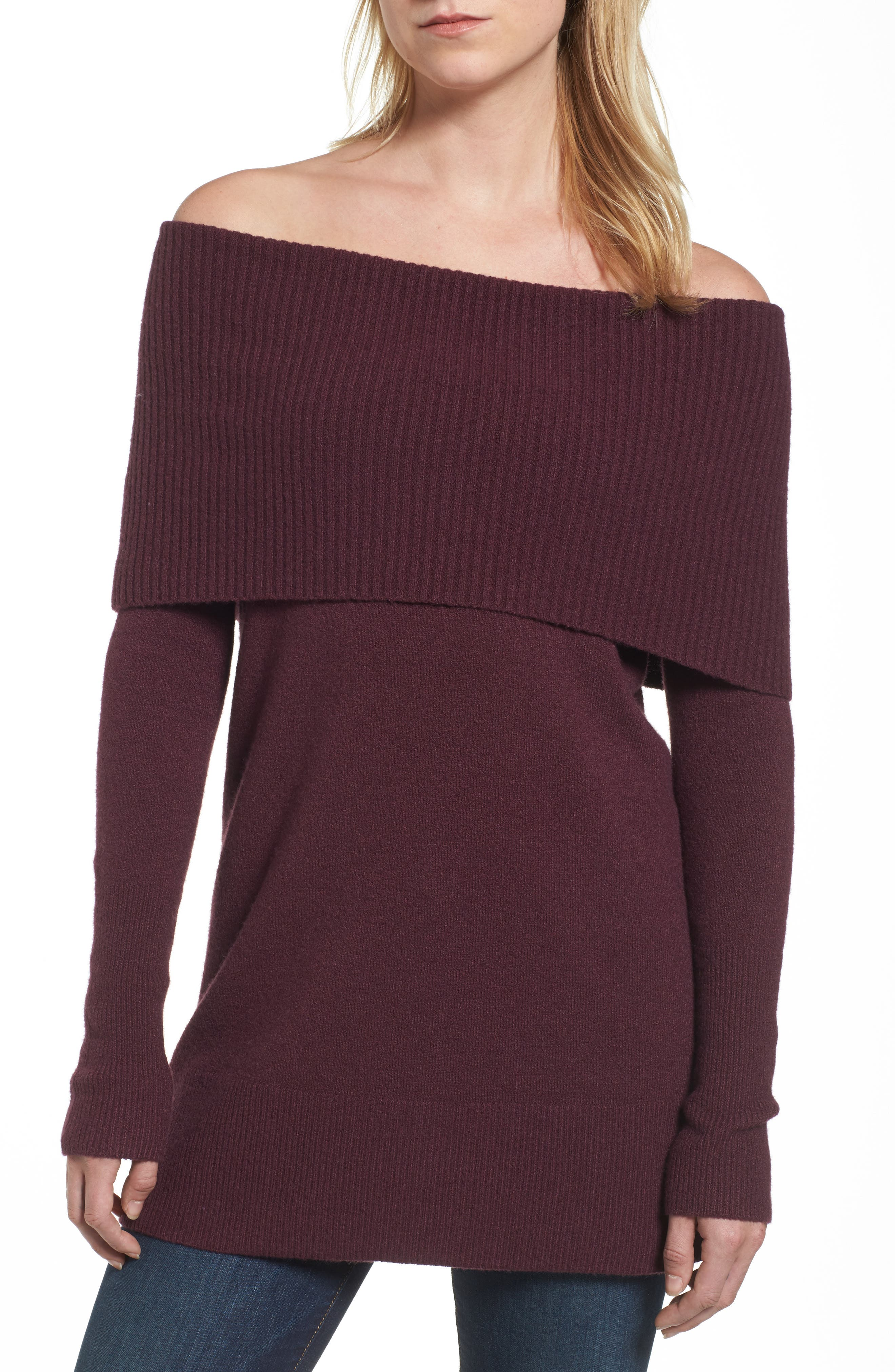 Halogen® Convertible Neck Sweater (Regular & Petite)