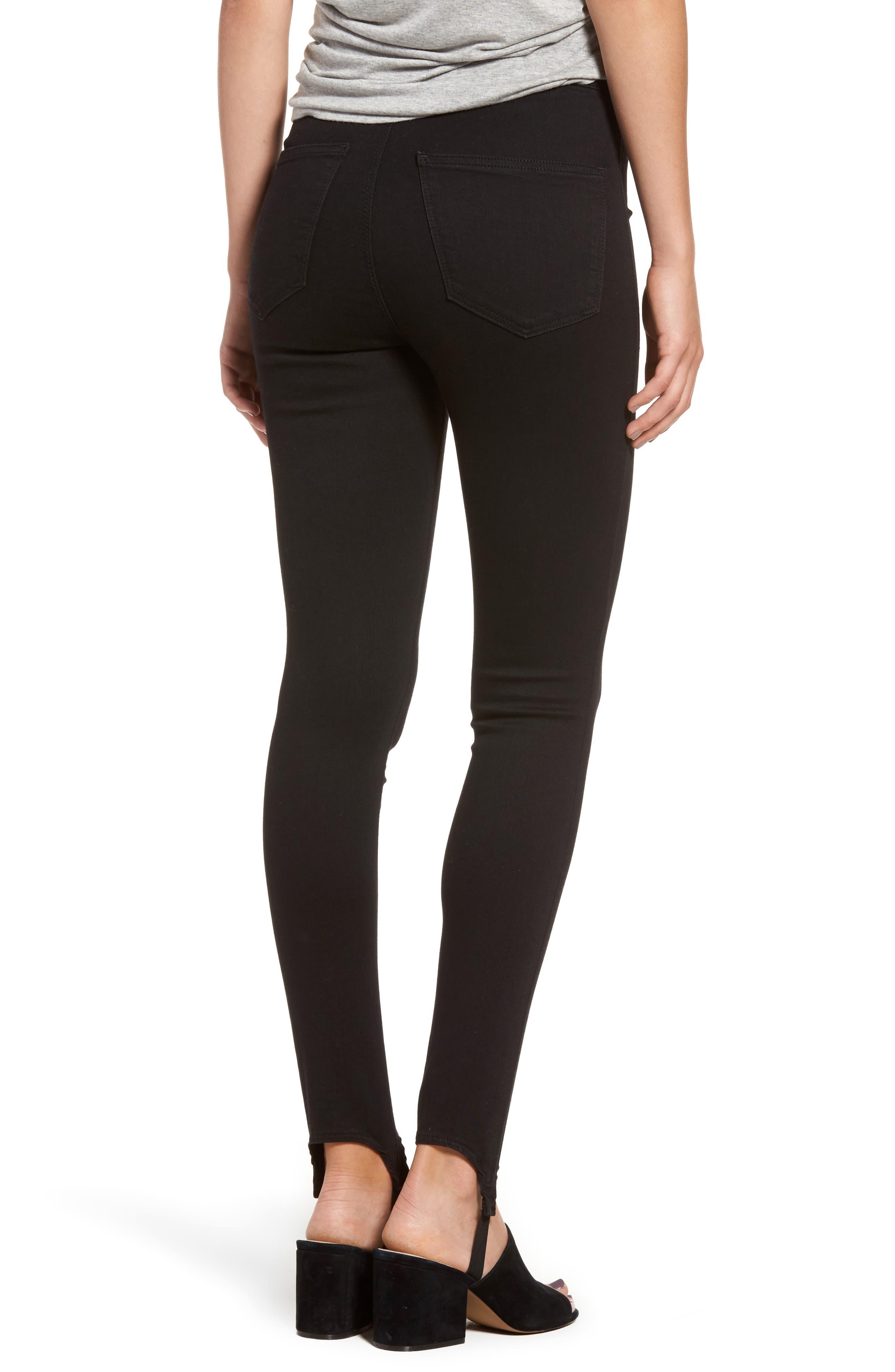 High Rise Skinny Stirrup Jeans,                             Alternate thumbnail 3, color,                             Black