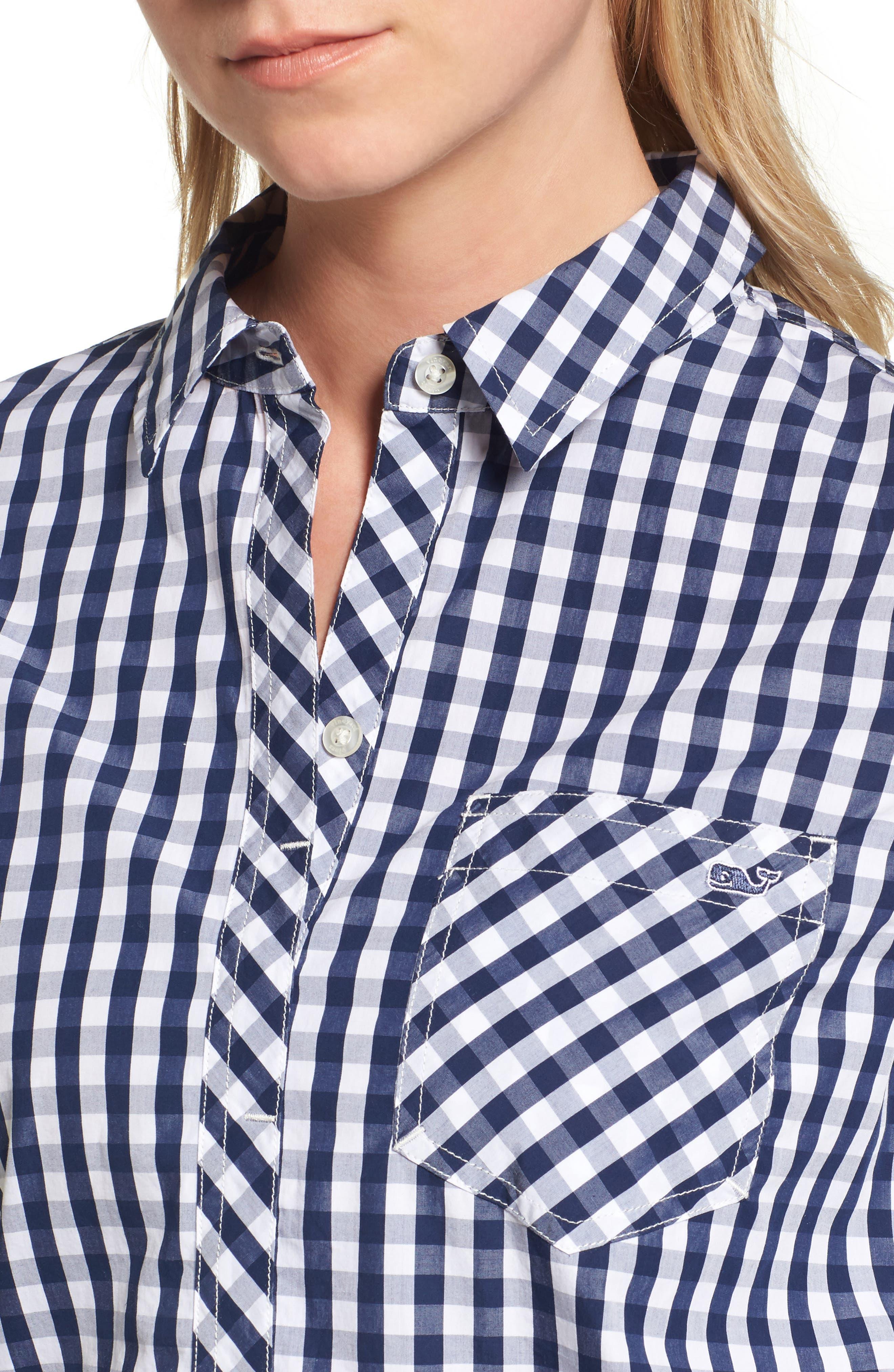 Seabreeze Gingham Pocket Shirt,                             Alternate thumbnail 4, color,                             Deep Bay