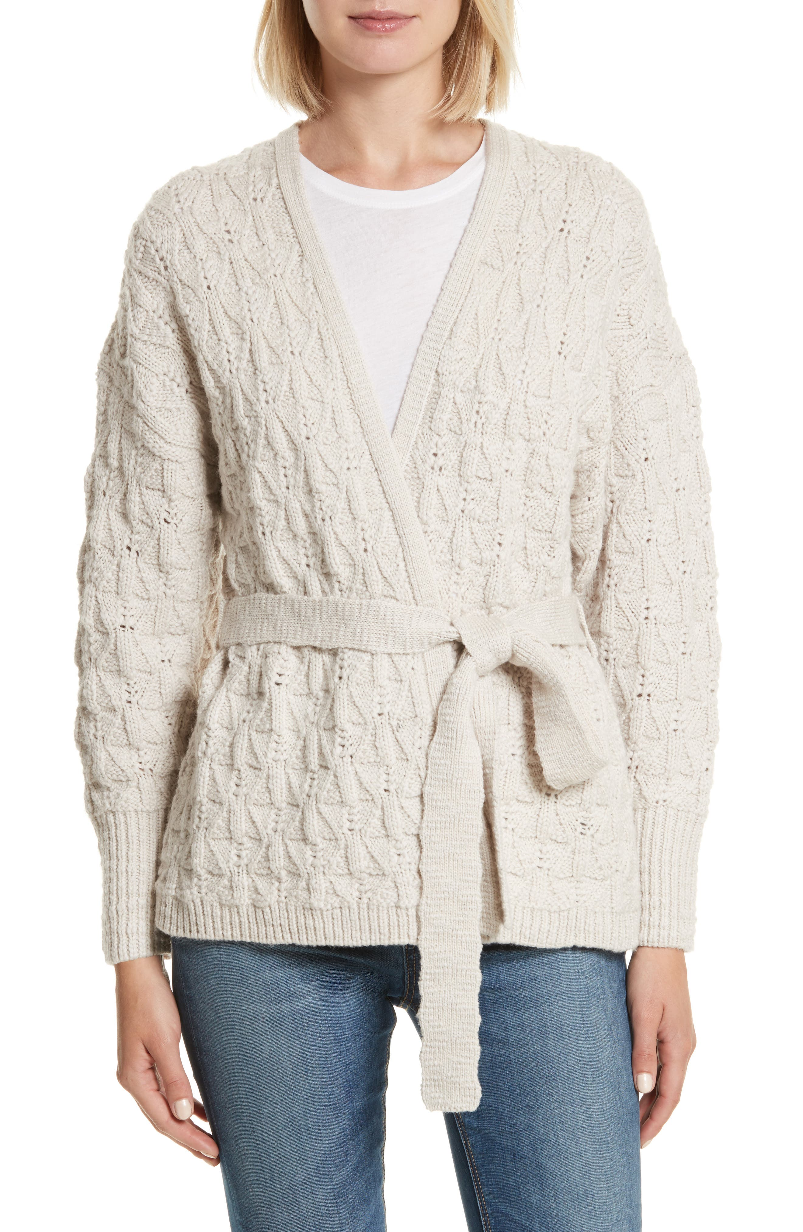 Main Image - Rebecca Taylor Belted Merino Wool Cardigan