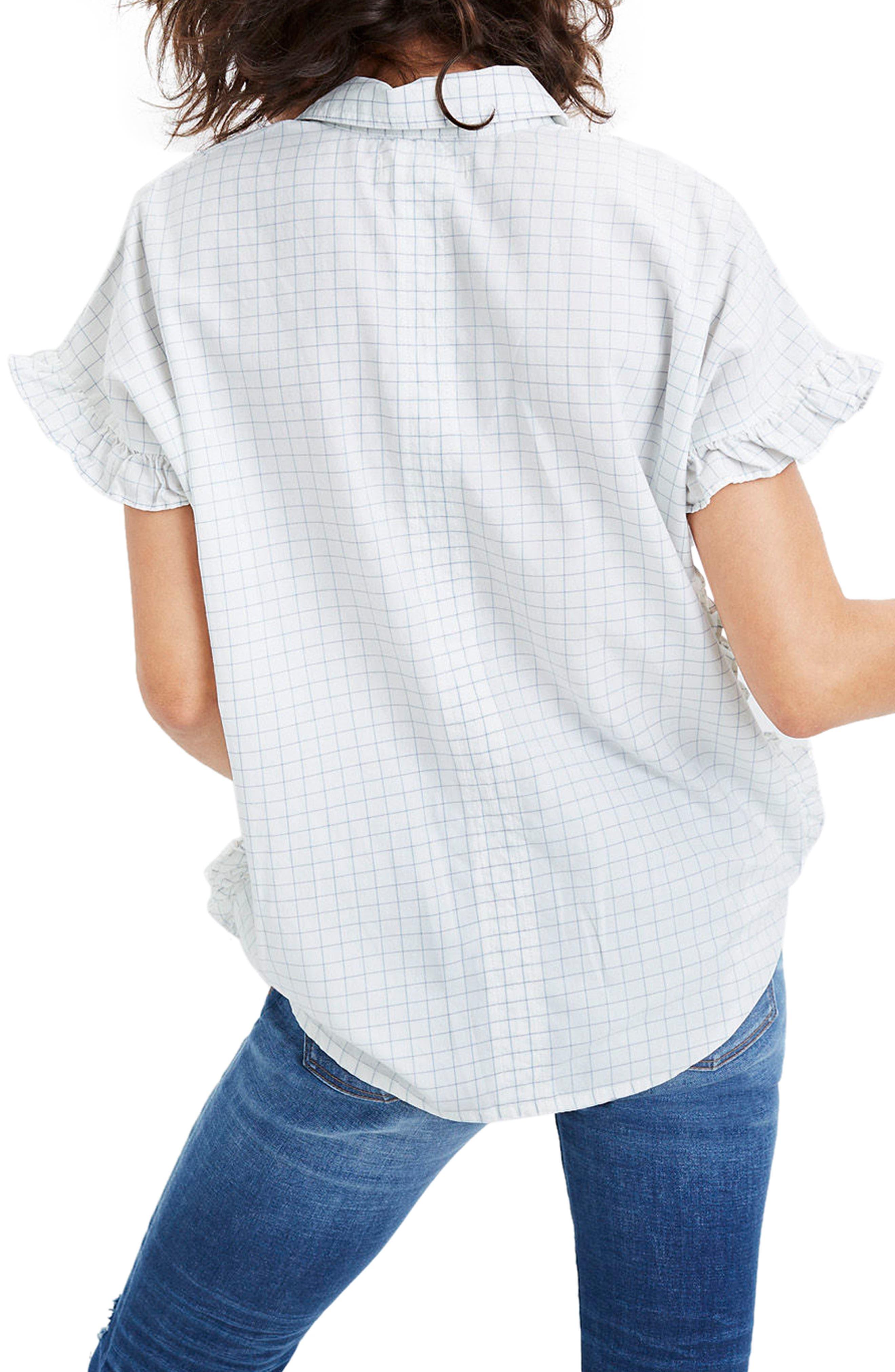 Windowpane Check Ruffle Shirt,                             Alternate thumbnail 2, color,                             Mini Windowpane
