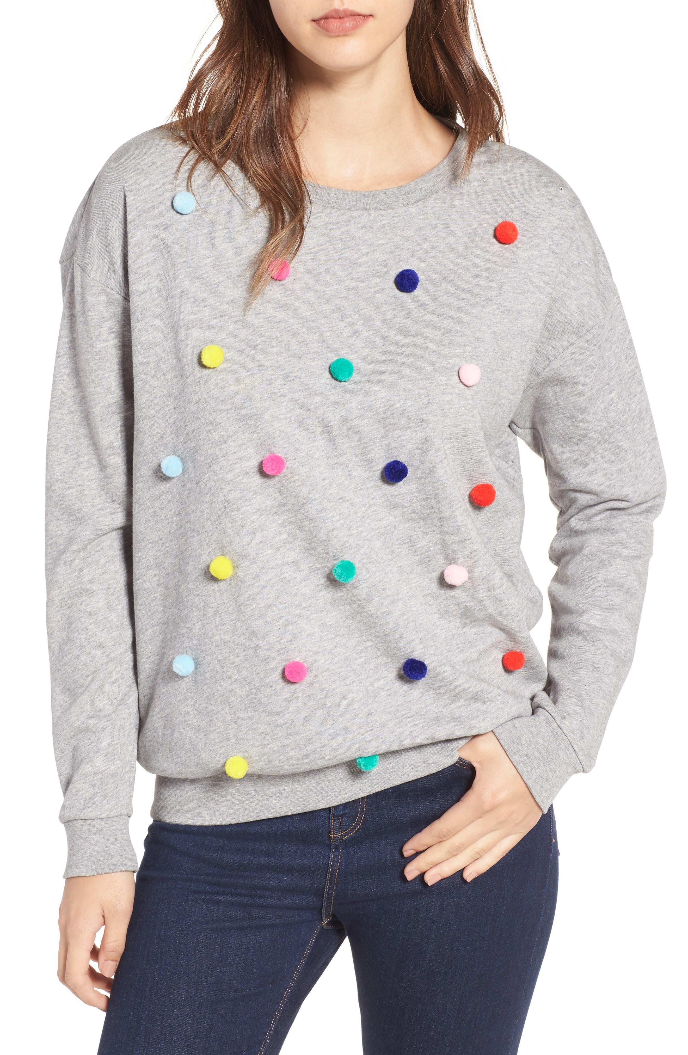 Pompom Sweatshirt,                         Main,                         color, Grey