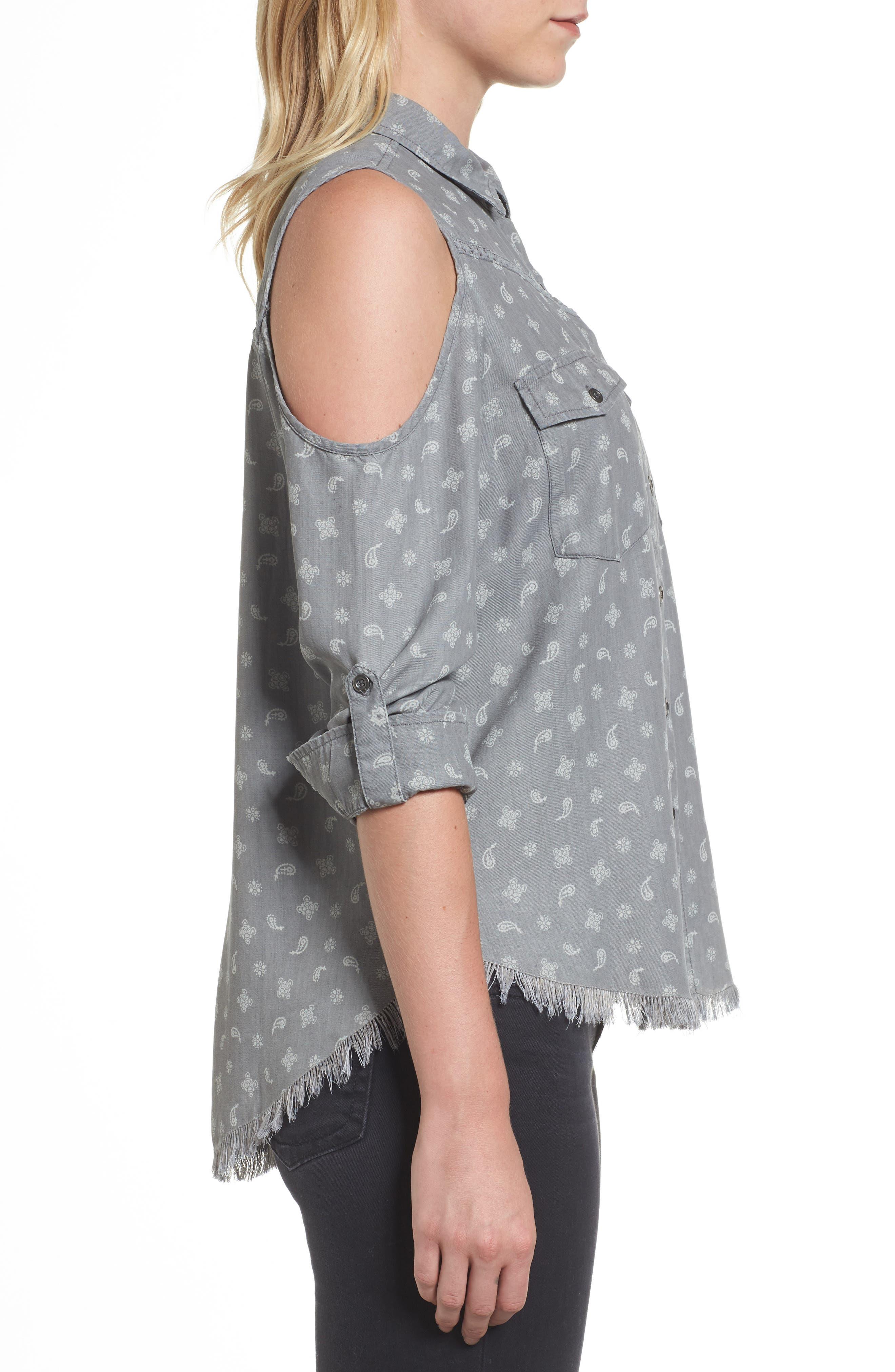 Cold Shoulder Paisley Shirt,                             Alternate thumbnail 3, color,                             Grey Handkerchief