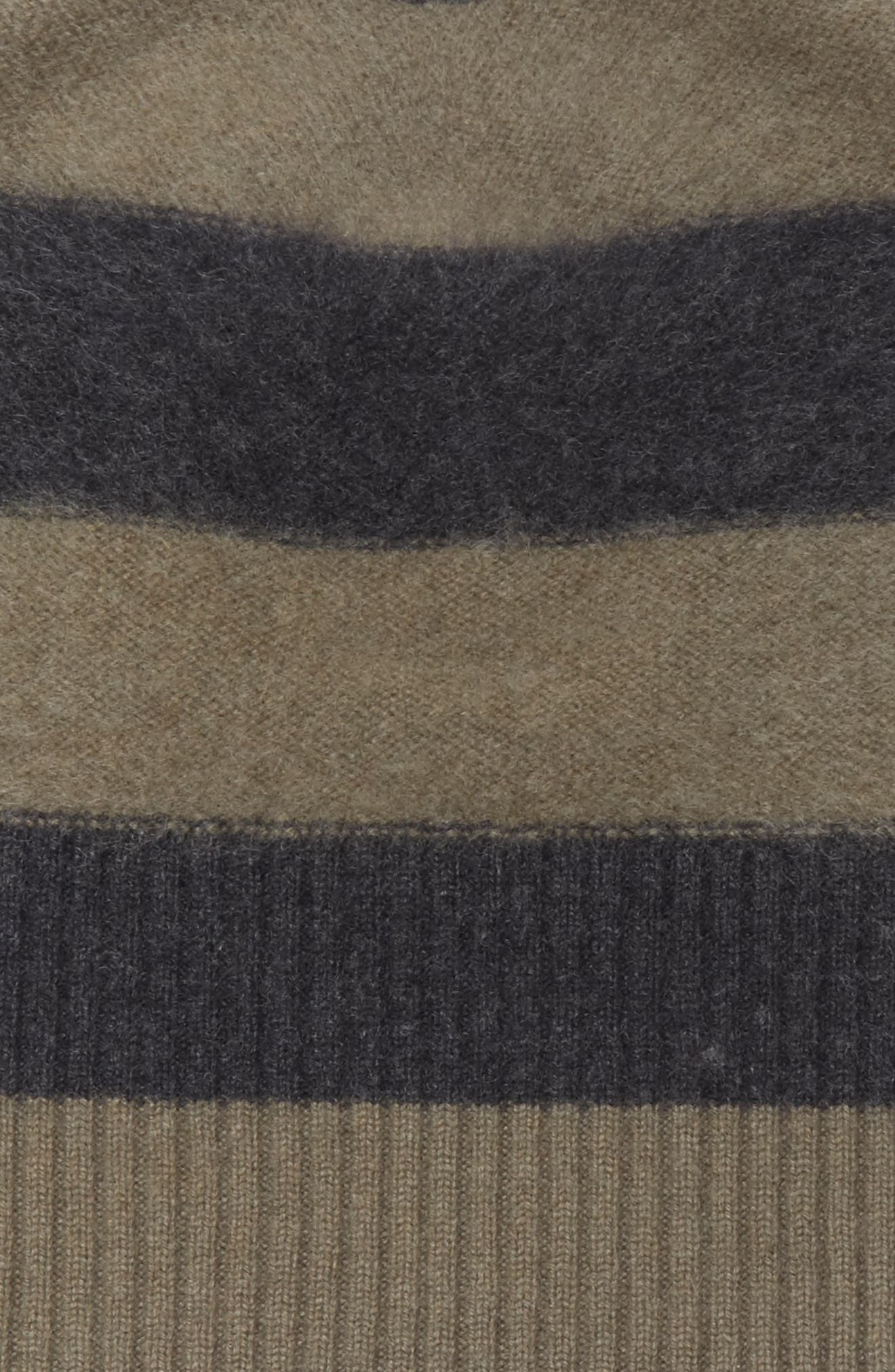 Stripe Cashmere Beanie,                             Alternate thumbnail 2, color,                             Olivewood/ Heather Carbon