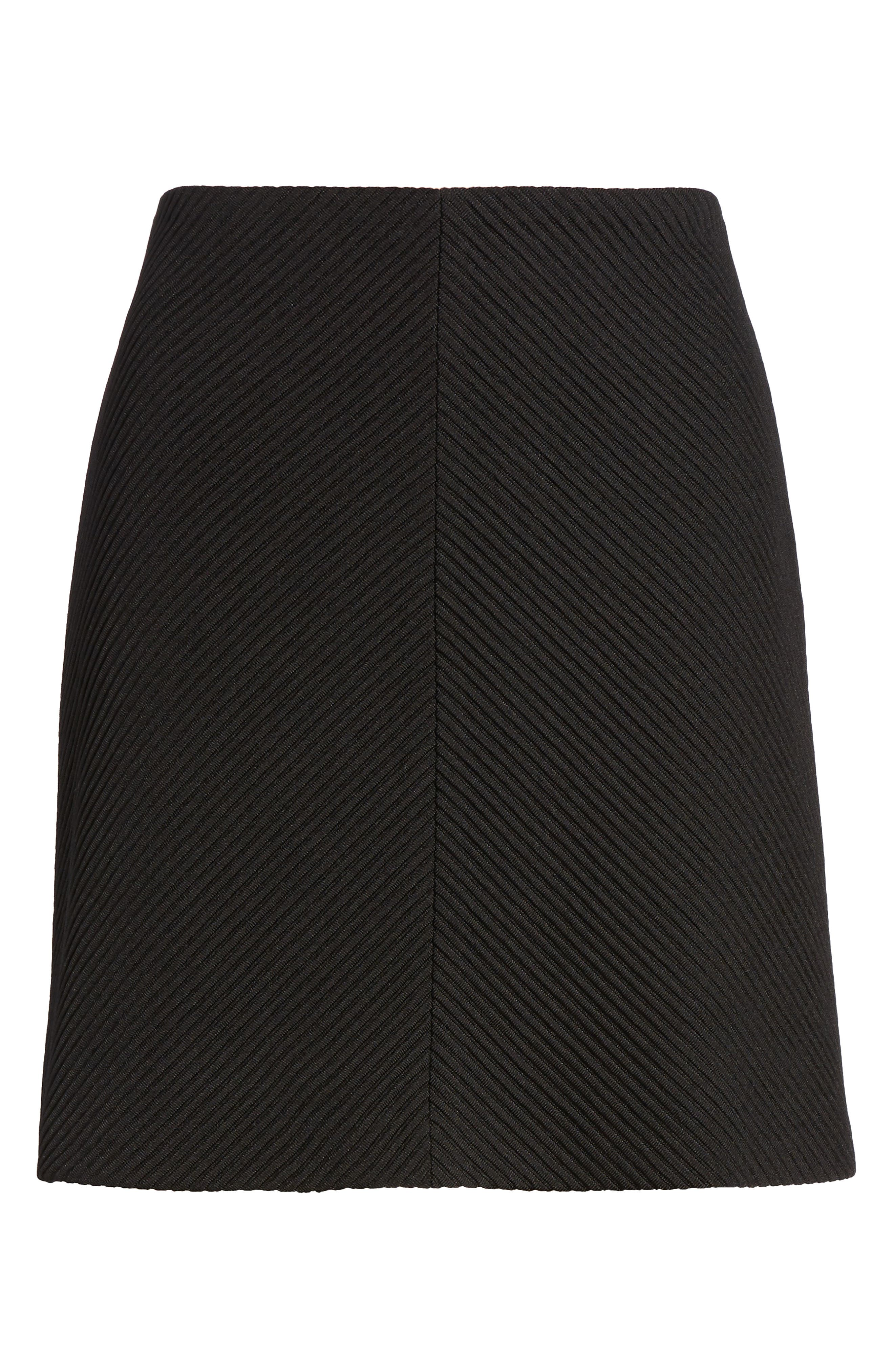 A-Line Knit Miniskirt,                             Alternate thumbnail 6, color,                             Black