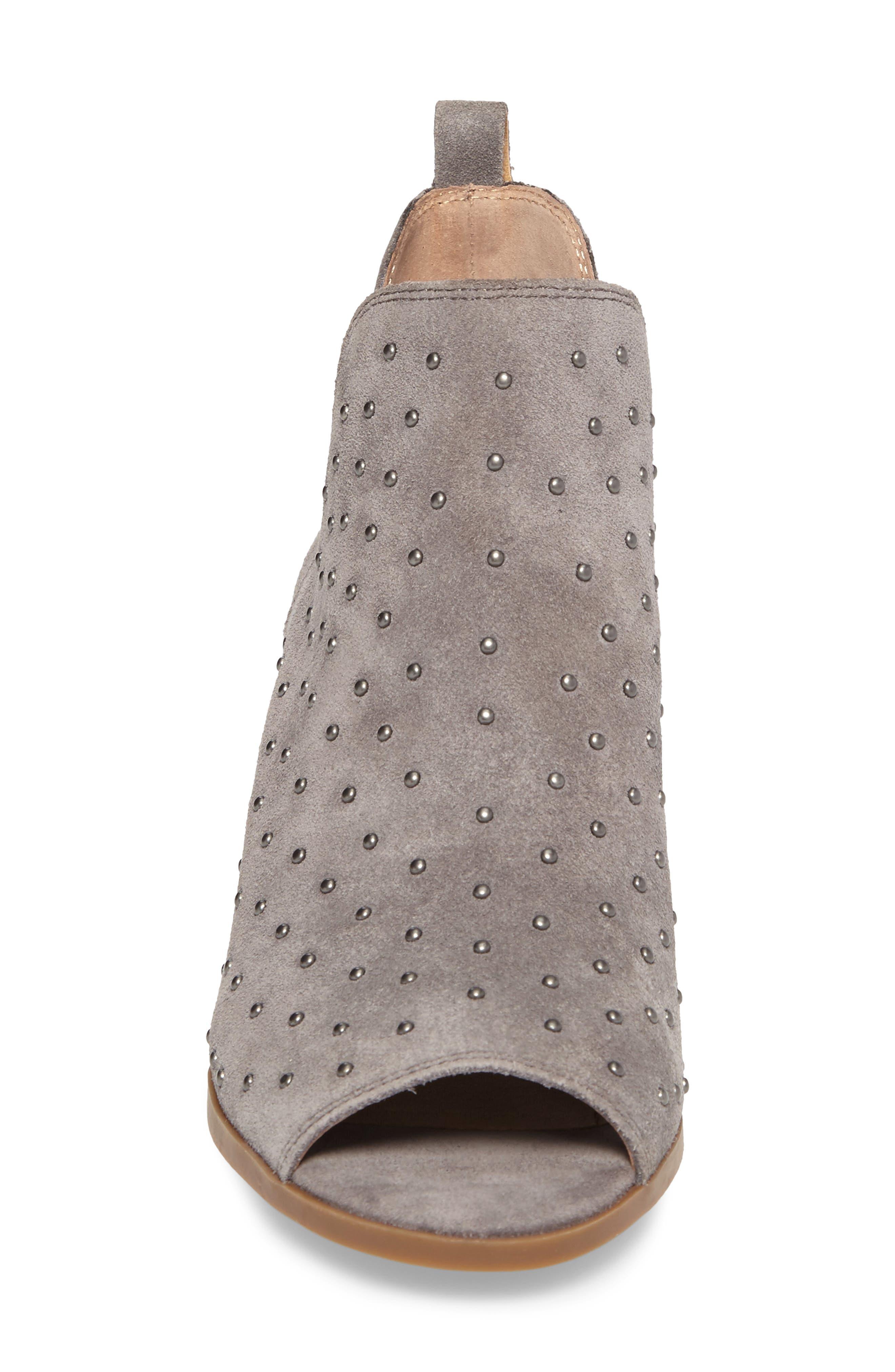 Barleena Peep Toe Bootie,                             Alternate thumbnail 4, color,                             Steel Grey Suede