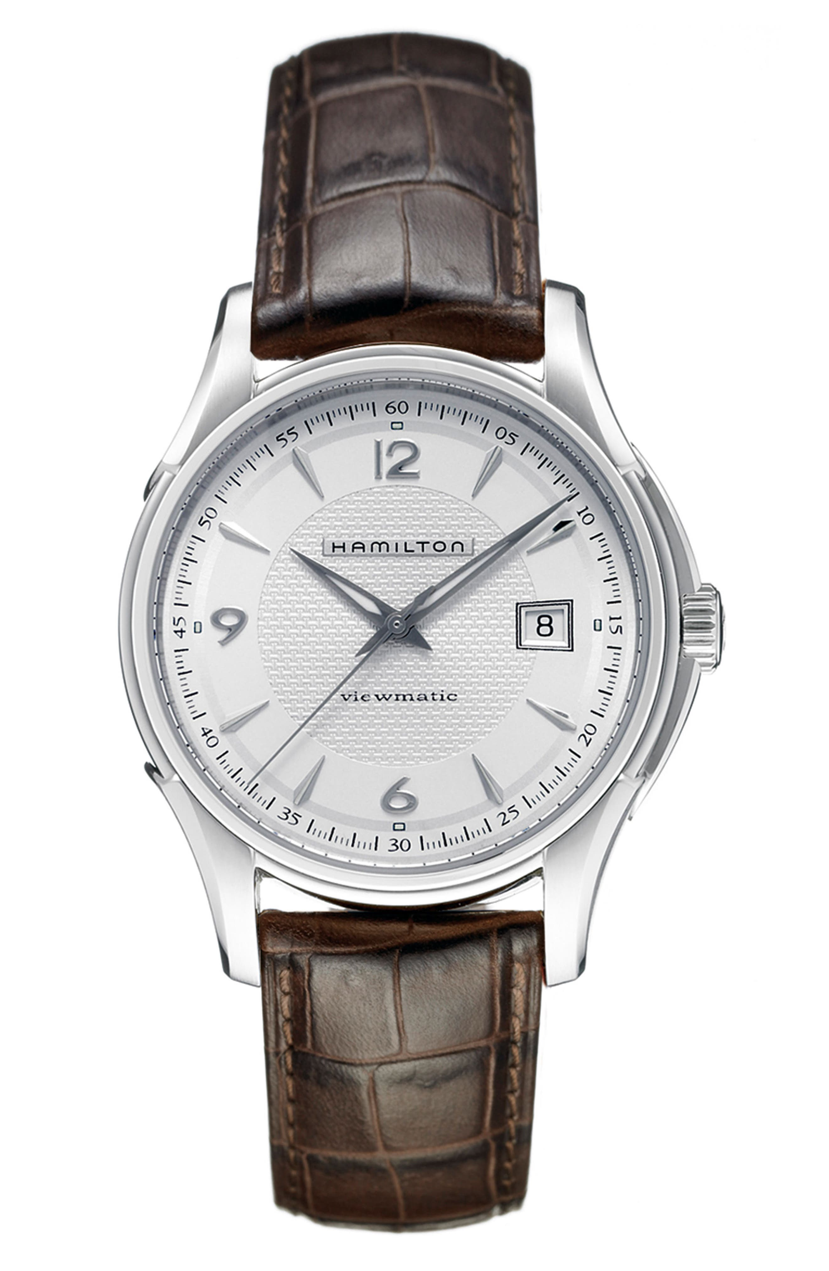 HAMILTON Jazzmaster Viewmatic Auto Leather Strap Watch, 40mm
