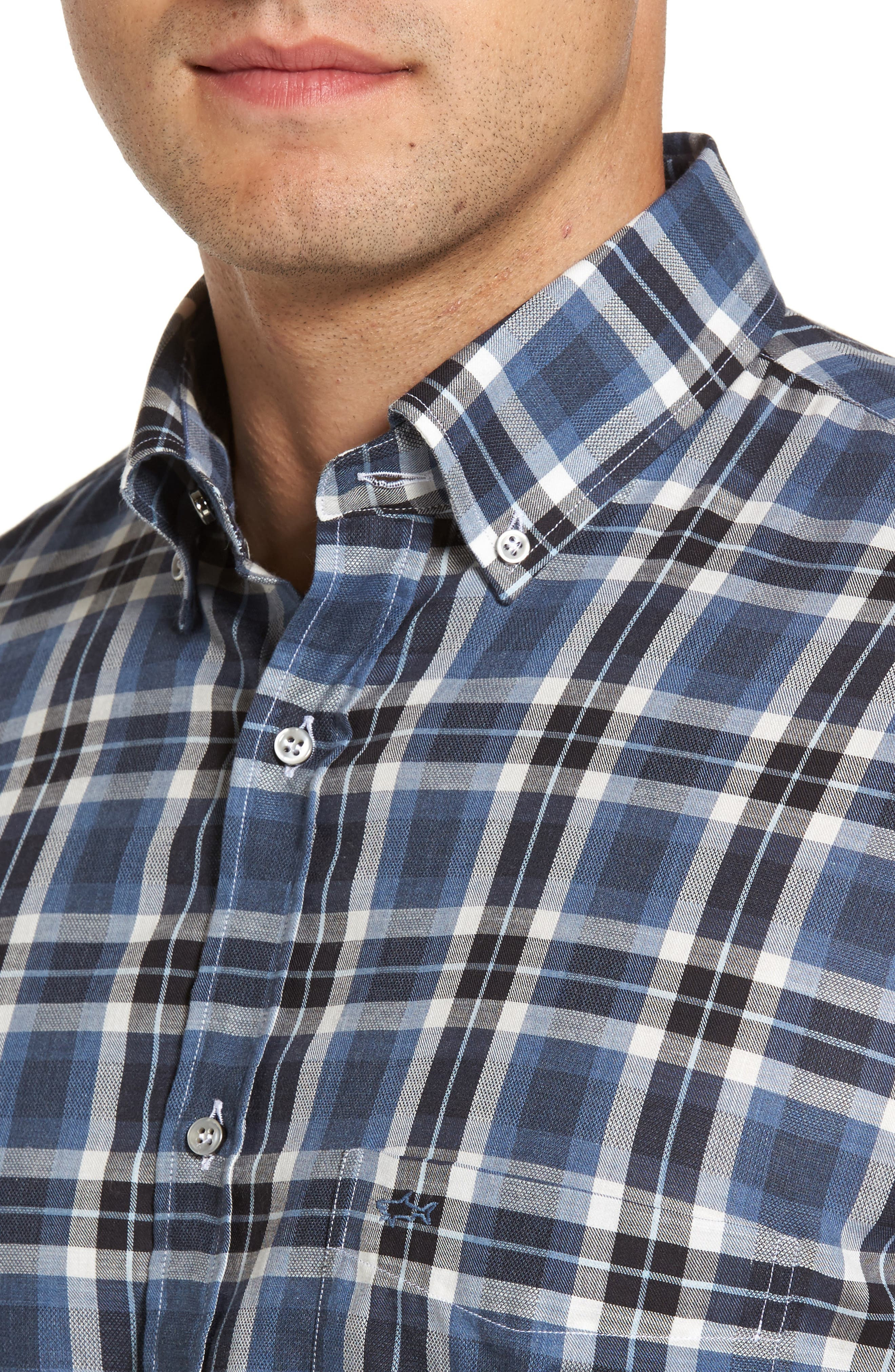 Paul&Shark Silver Collection Plaid Sport Shirt,                             Alternate thumbnail 4, color,                             Blue / Grey