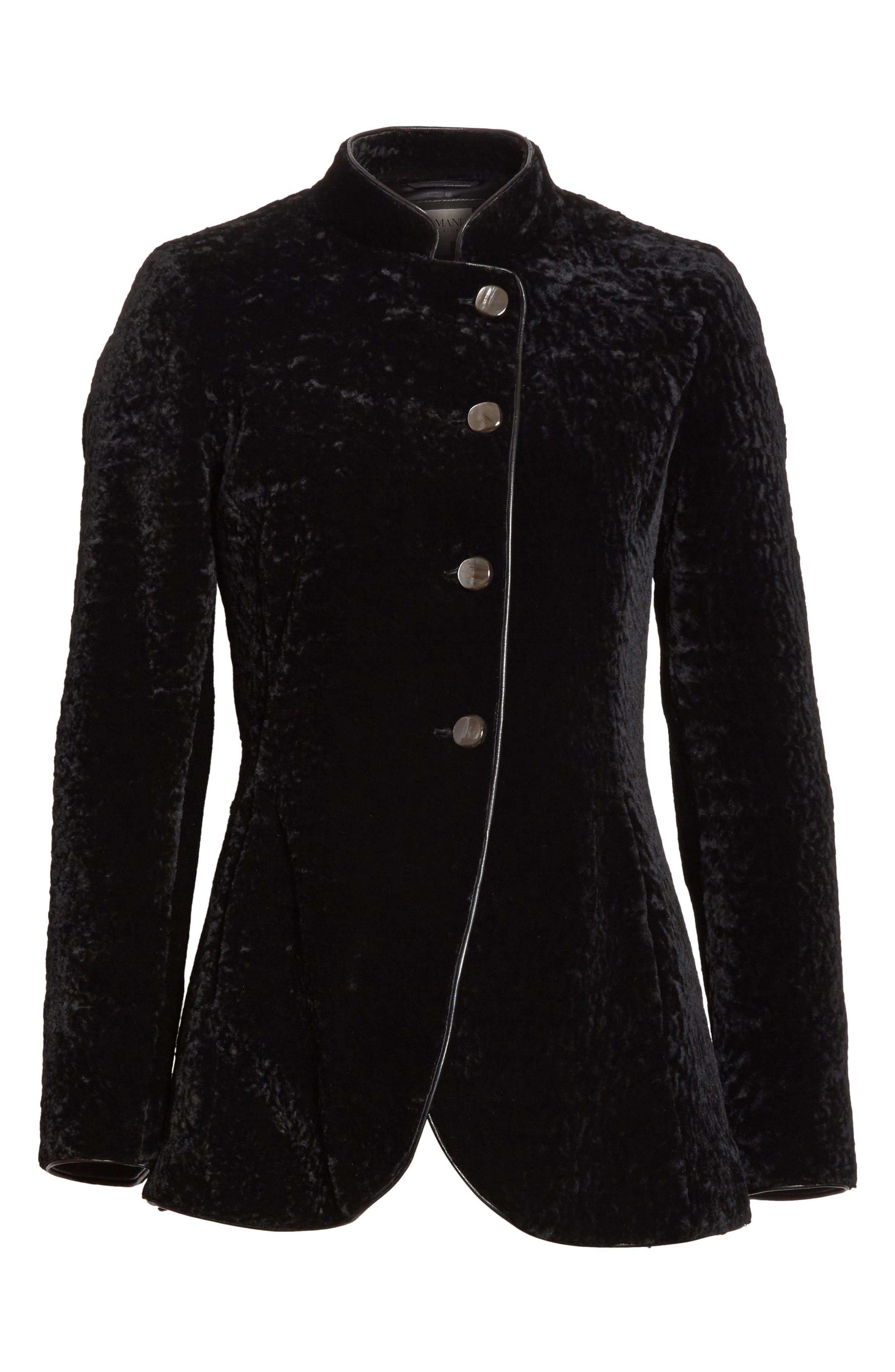 Genuine Shearling Jacket,                             Alternate thumbnail 6, color,                             Black