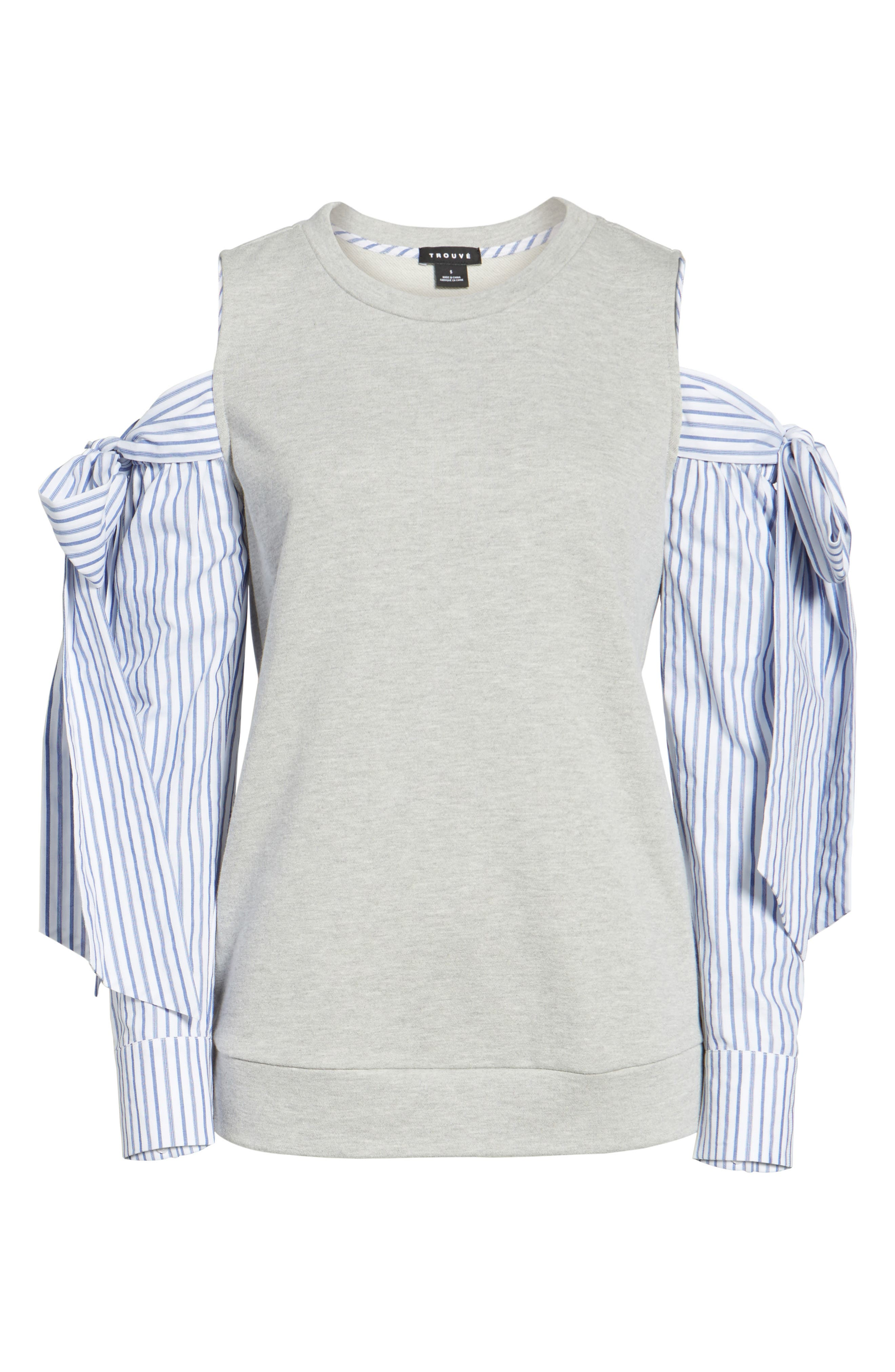 Cold Shoulder Sweatshirt,                             Alternate thumbnail 4, color,                             Grey Heather
