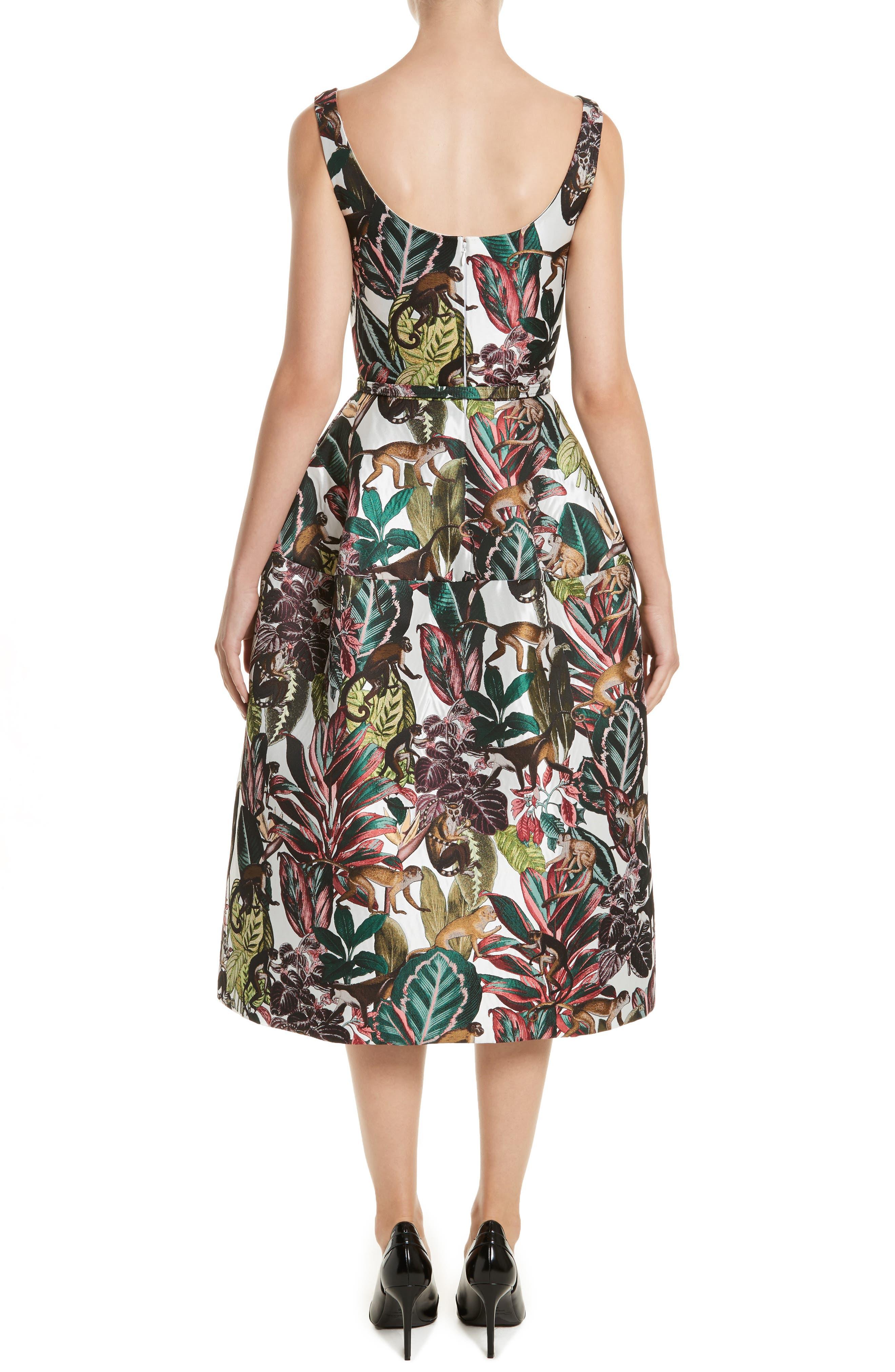 Jungle Jacquard Dress,                             Alternate thumbnail 2, color,                             White Multi