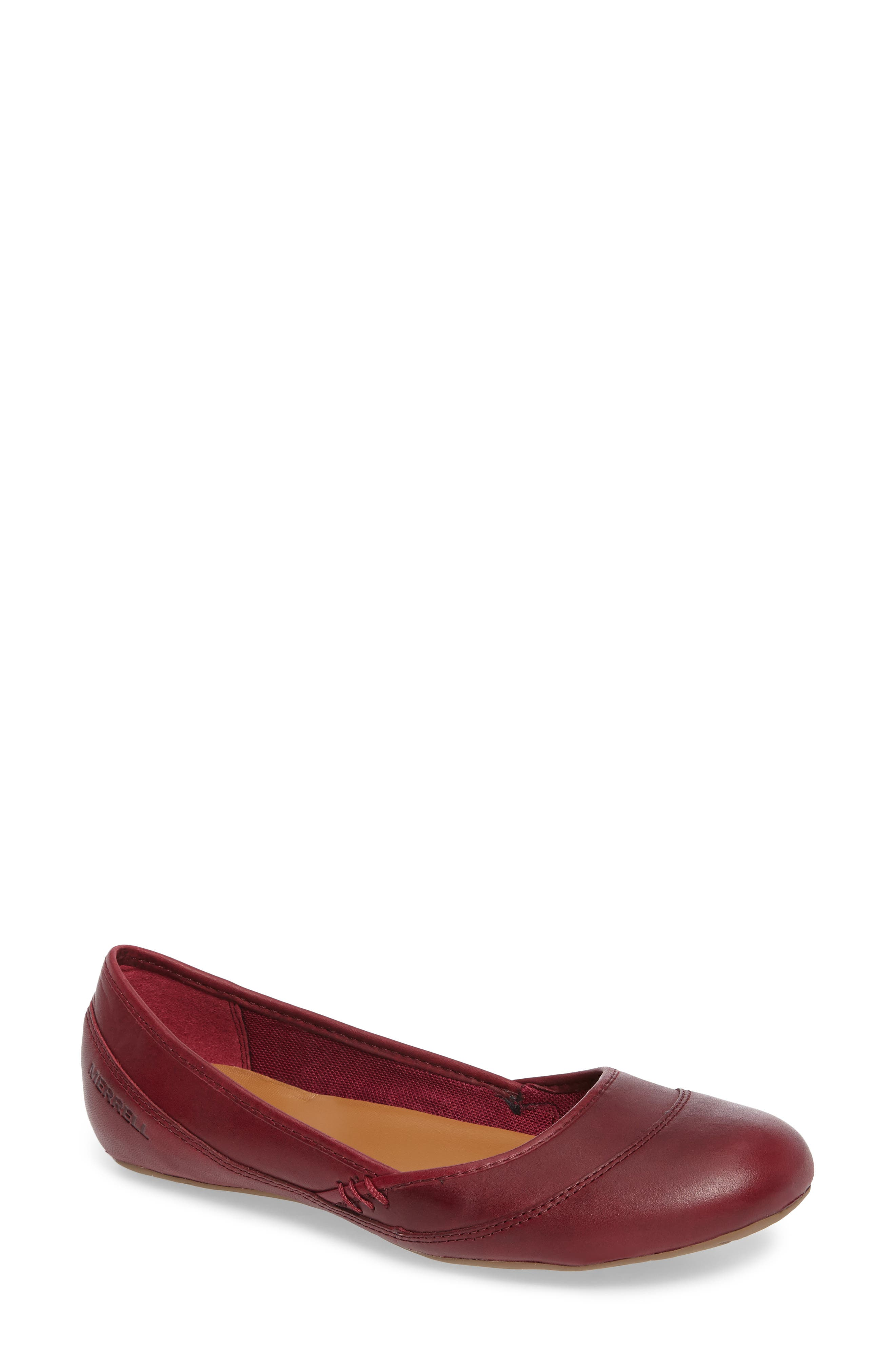 Ember Ballet Flat,                             Main thumbnail 1, color,                             Beet Red Leather