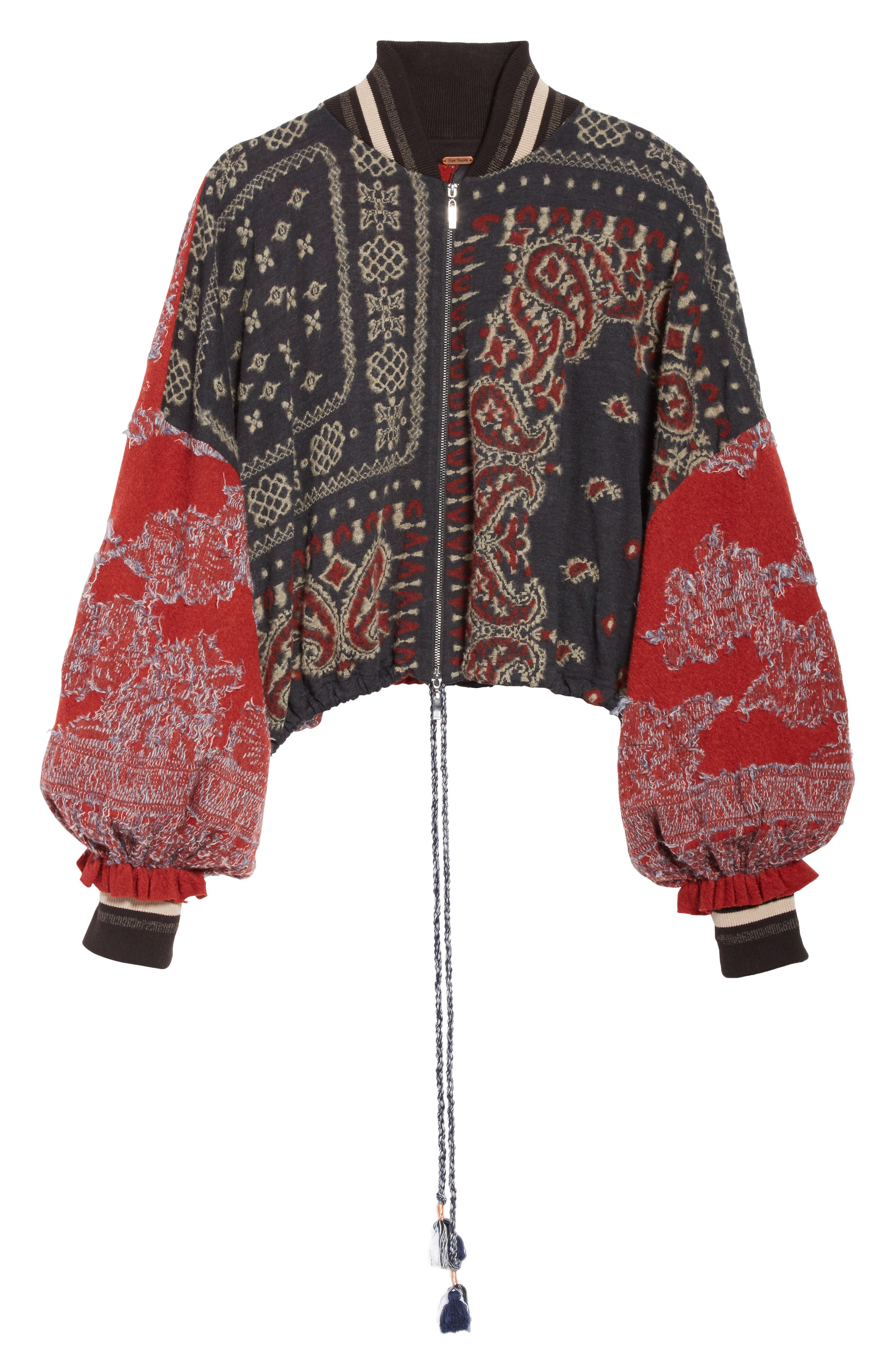 Paisley Bomber Jacket,                             Alternate thumbnail 6, color,                             Black Combo