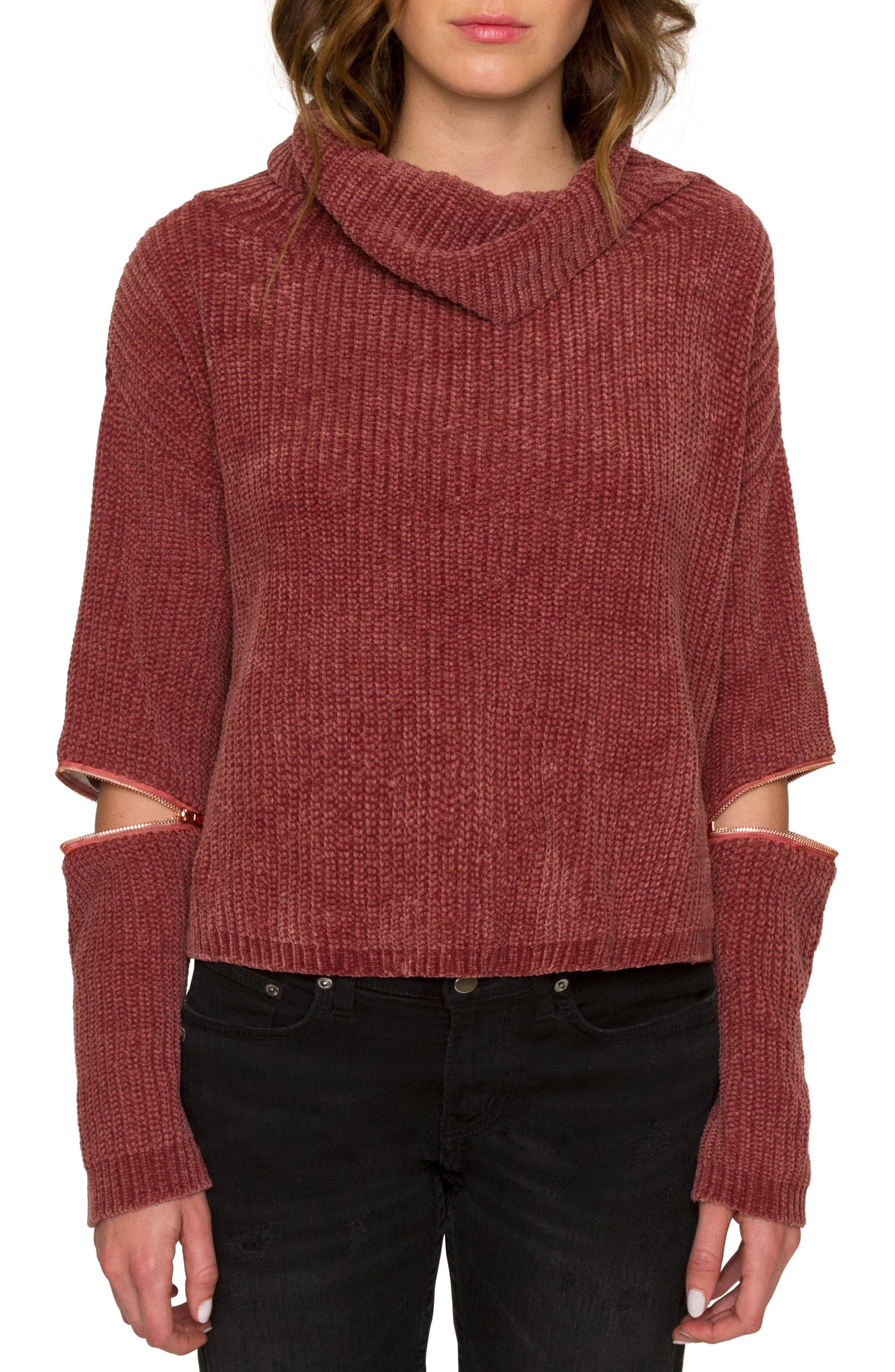 Zip Sleeve Turtleneck Sweater,                         Main,                         color, Mauve