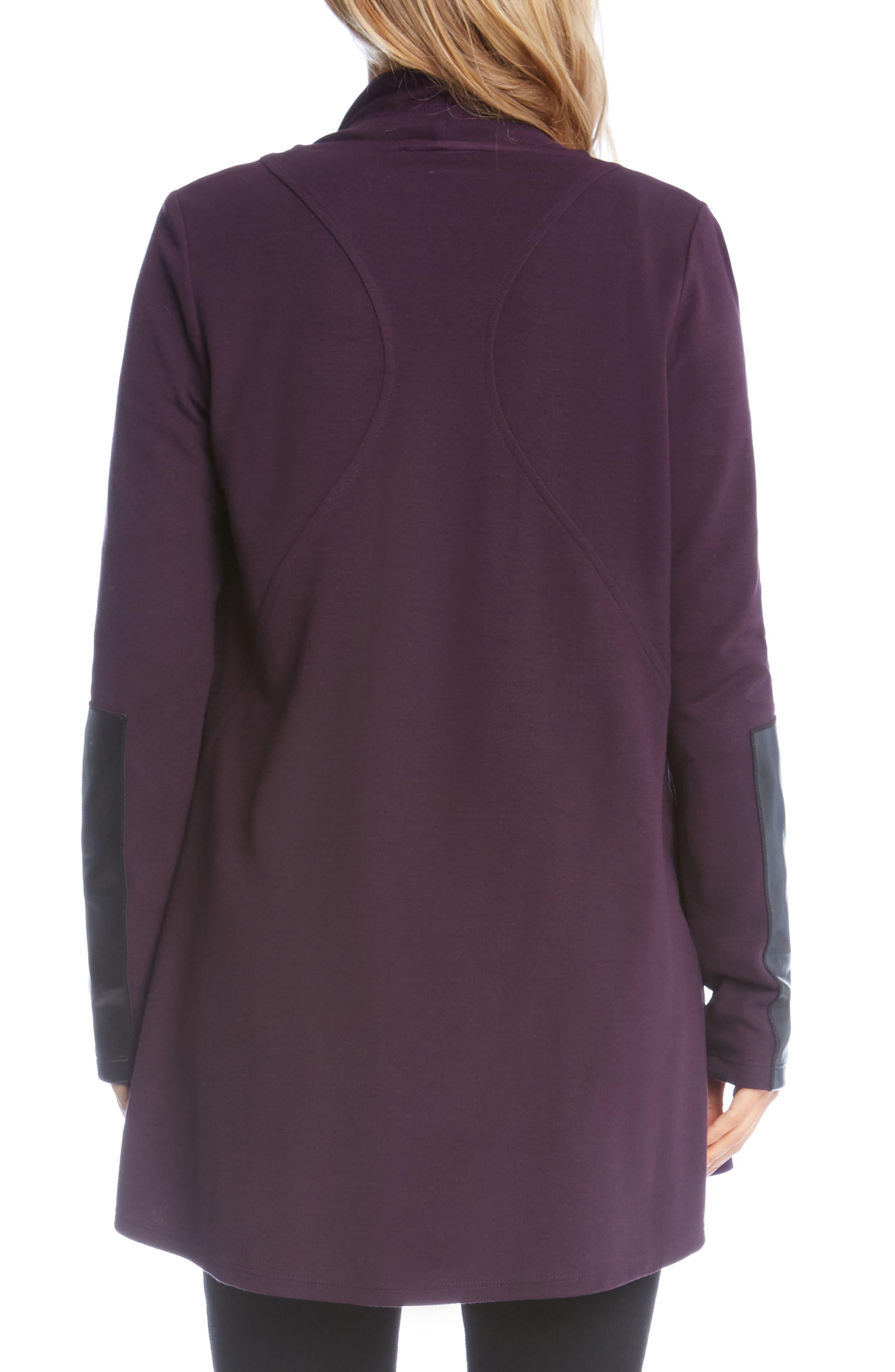 Alternate Image 2  - Karen Kane Faux Leather Patch Fleece Knit Jacket