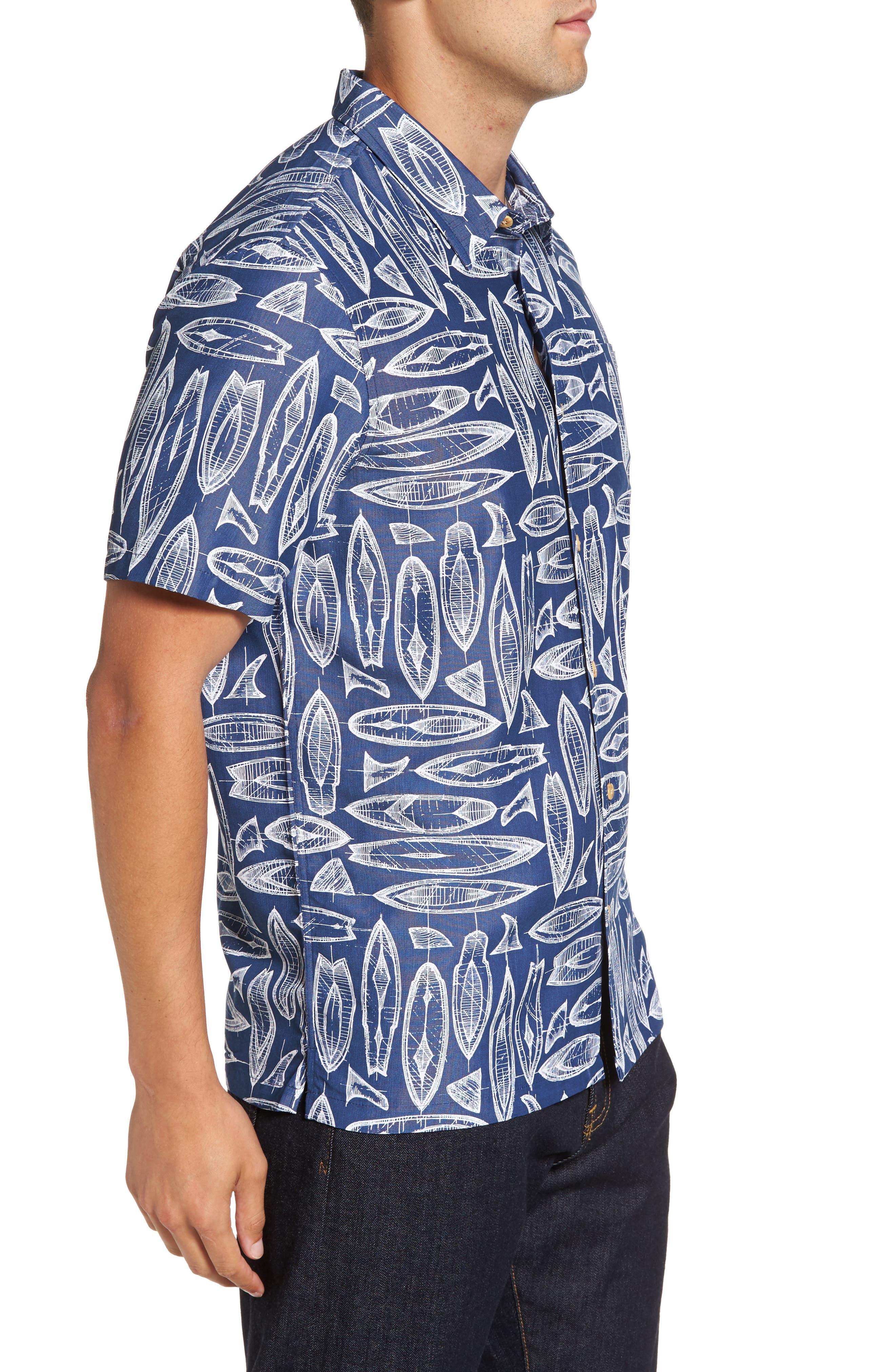 Waveriders Print Camp Shirt,                             Alternate thumbnail 3, color,                             Ocean