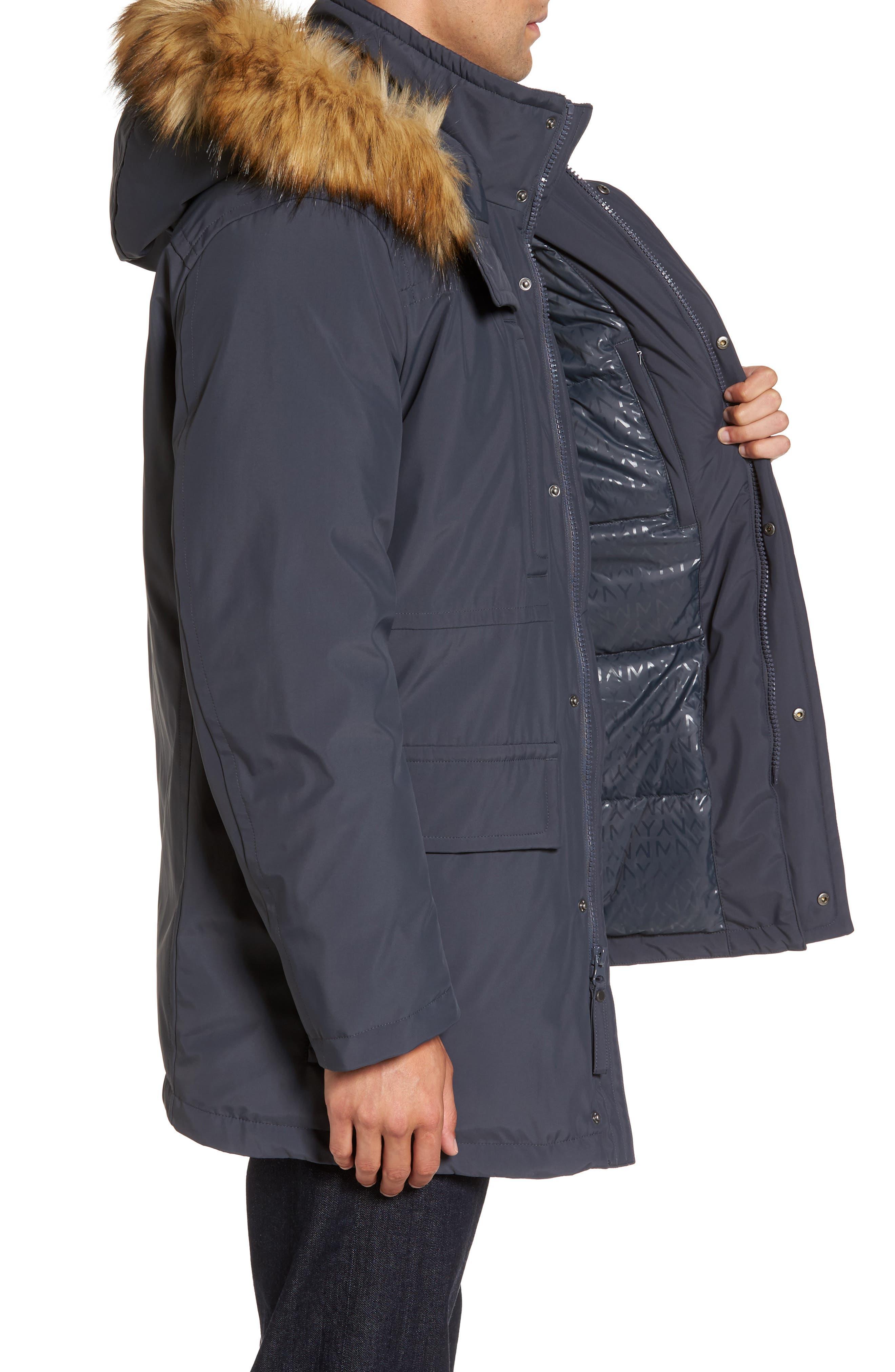 Down Jacket with Faux Fur Trim,                             Alternate thumbnail 3, color,                             Magnet