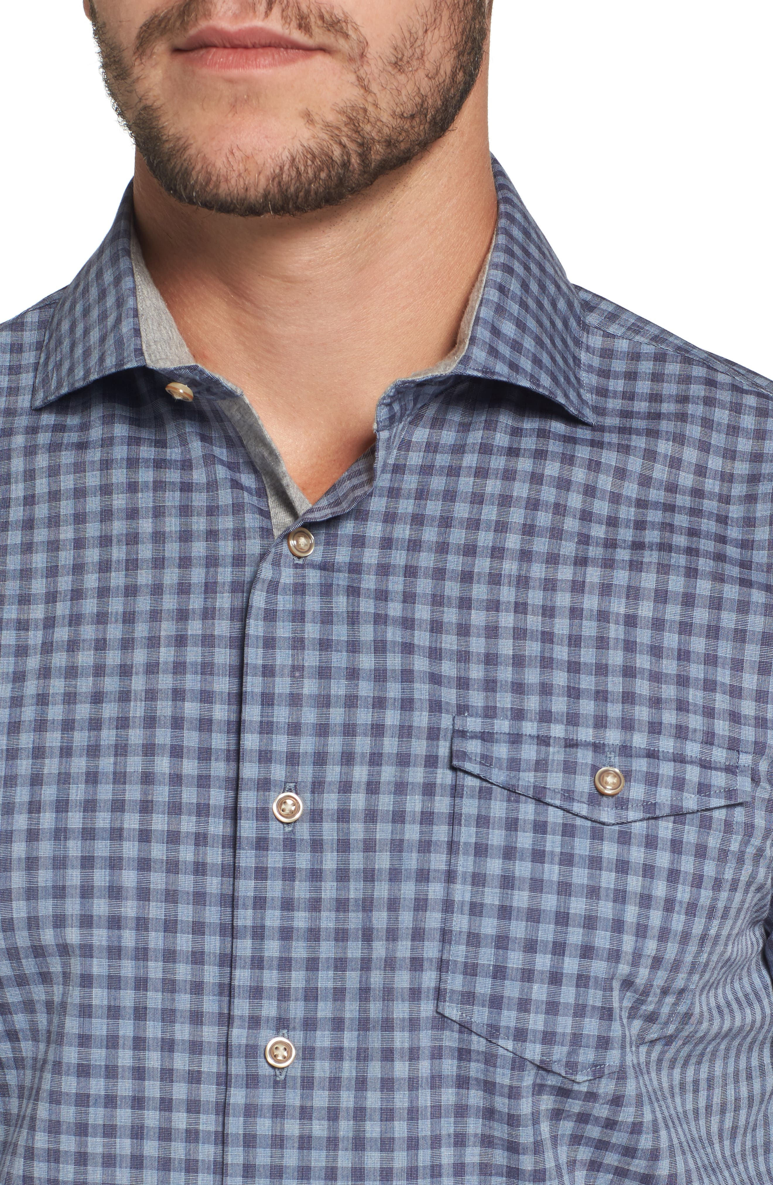 Red Rocks Check Sport Shirt,                             Alternate thumbnail 4, color,                             Abyss