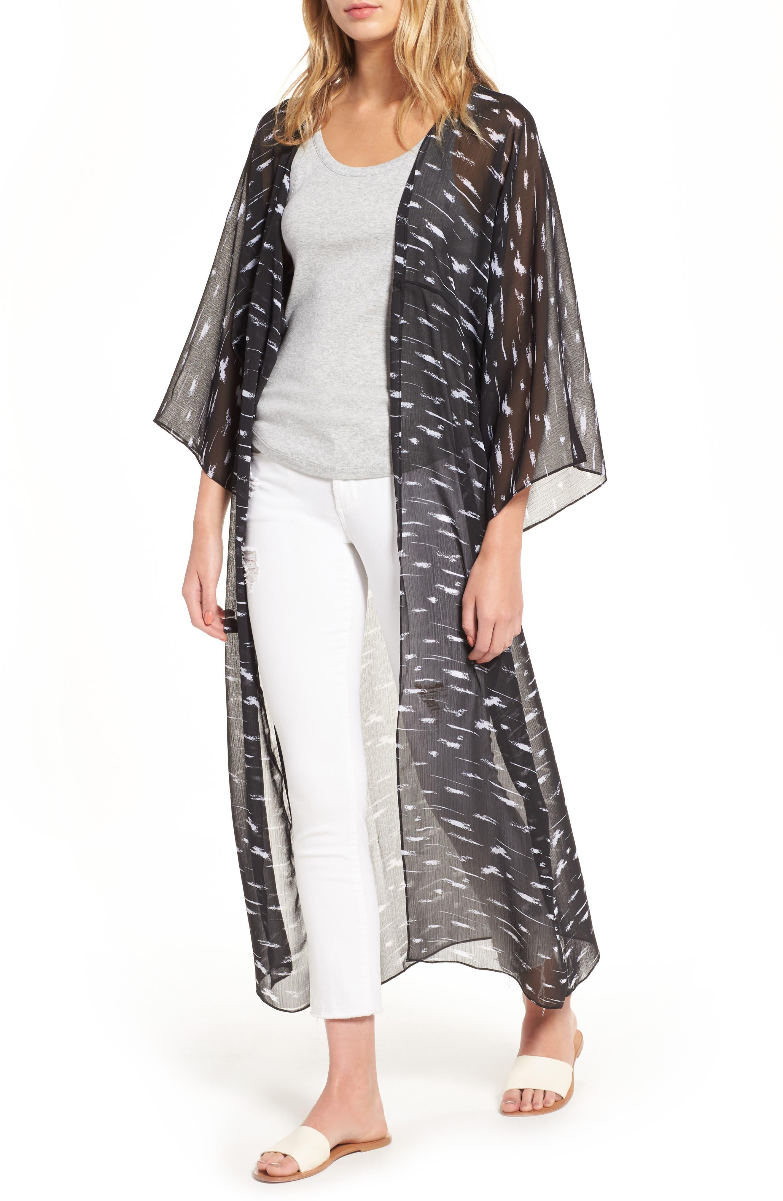 Print Duster Kimono,                             Main thumbnail 1, color,                             Black Painted Lines