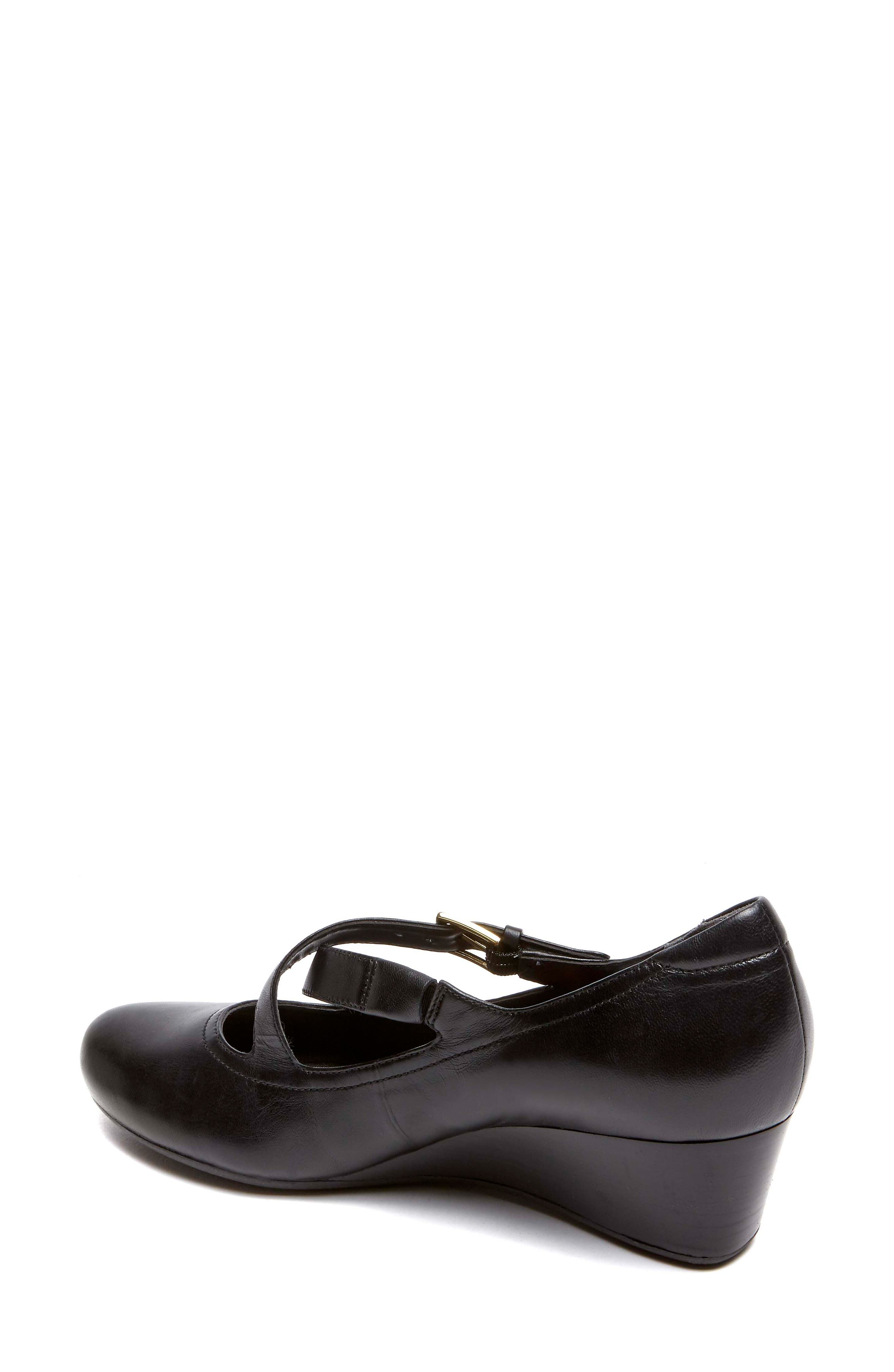 Total Motion Luxe Two-Strap Wedge,                             Alternate thumbnail 2, color,                             Black Leather