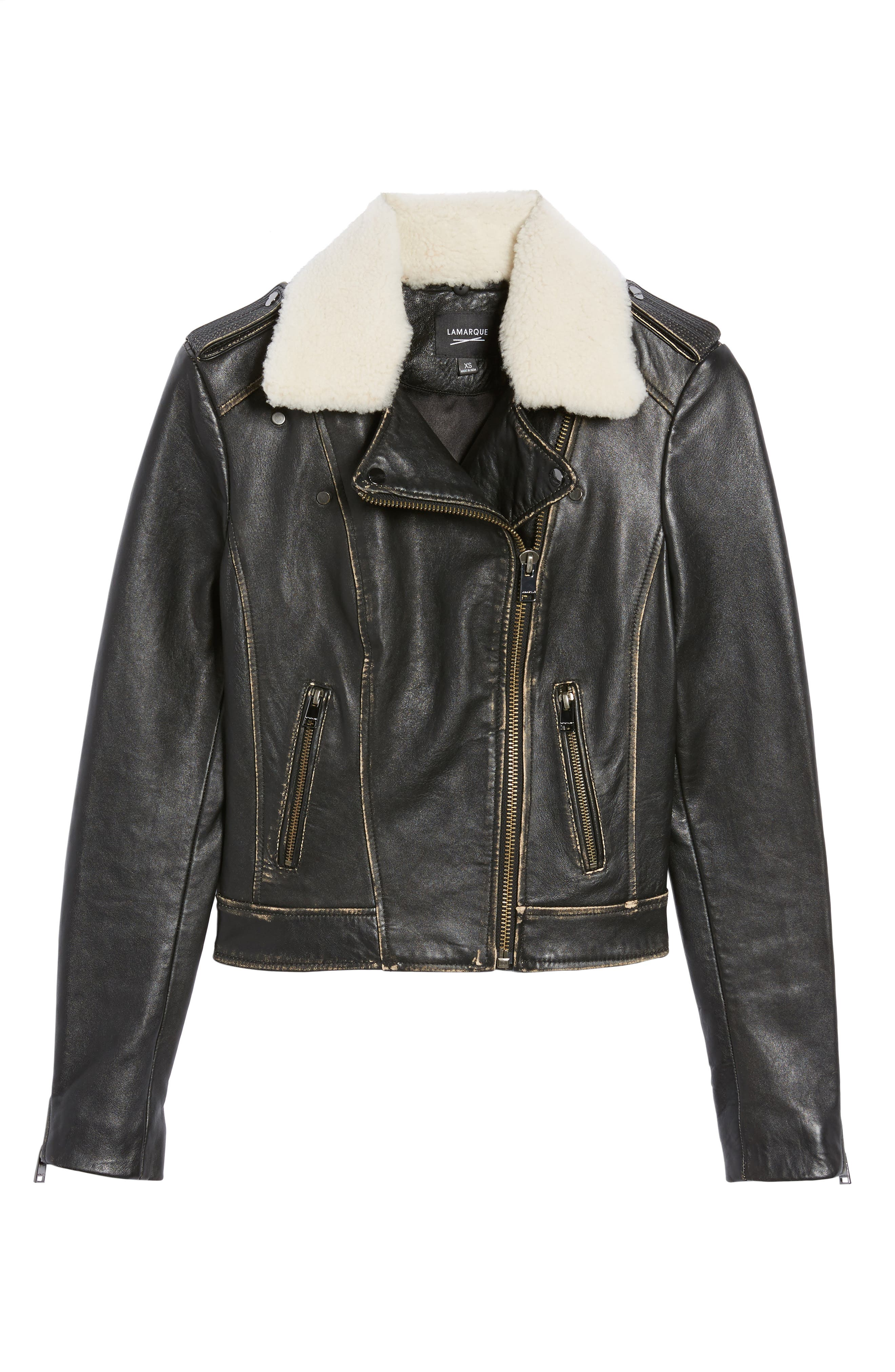 Moto Jacket with Detachable Genuine Shearling,                             Alternate thumbnail 6, color,                             Black