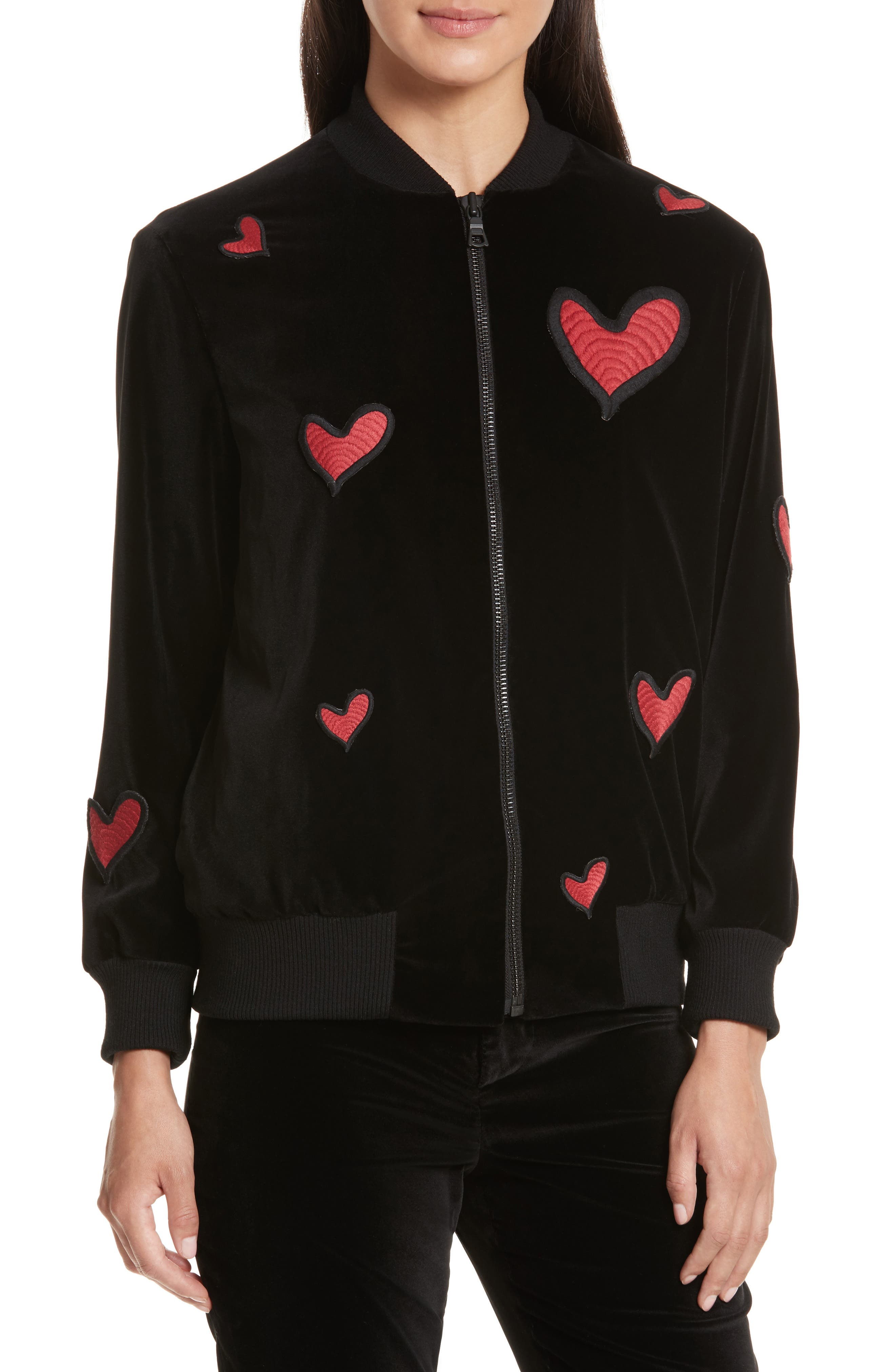 Embroidered Patch Oversize Bomber Jacket,                             Alternate thumbnail 4, color,                             Black Red