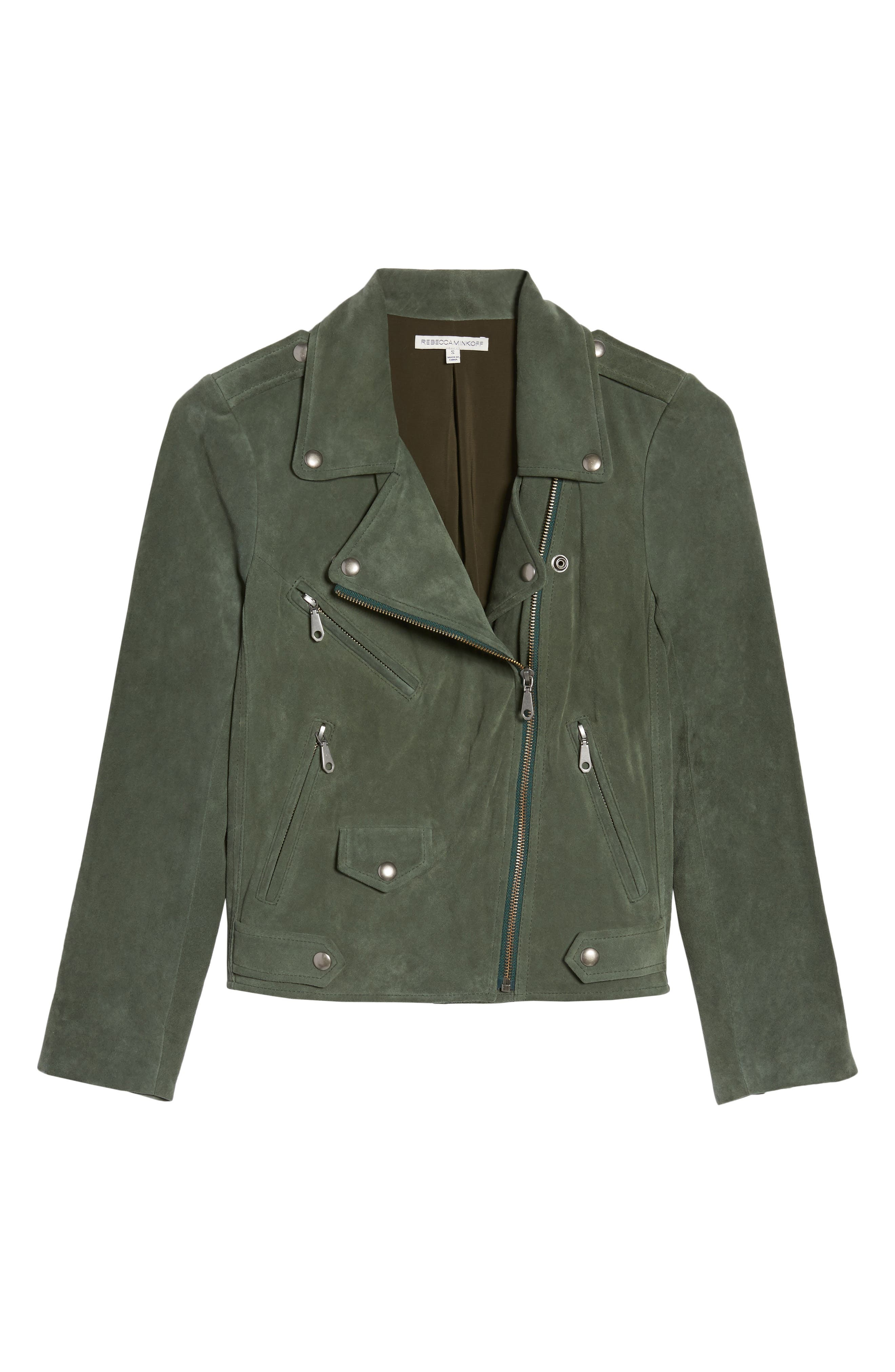 Wes Suede Moto Jacket,                             Alternate thumbnail 6, color,                             Dark Green