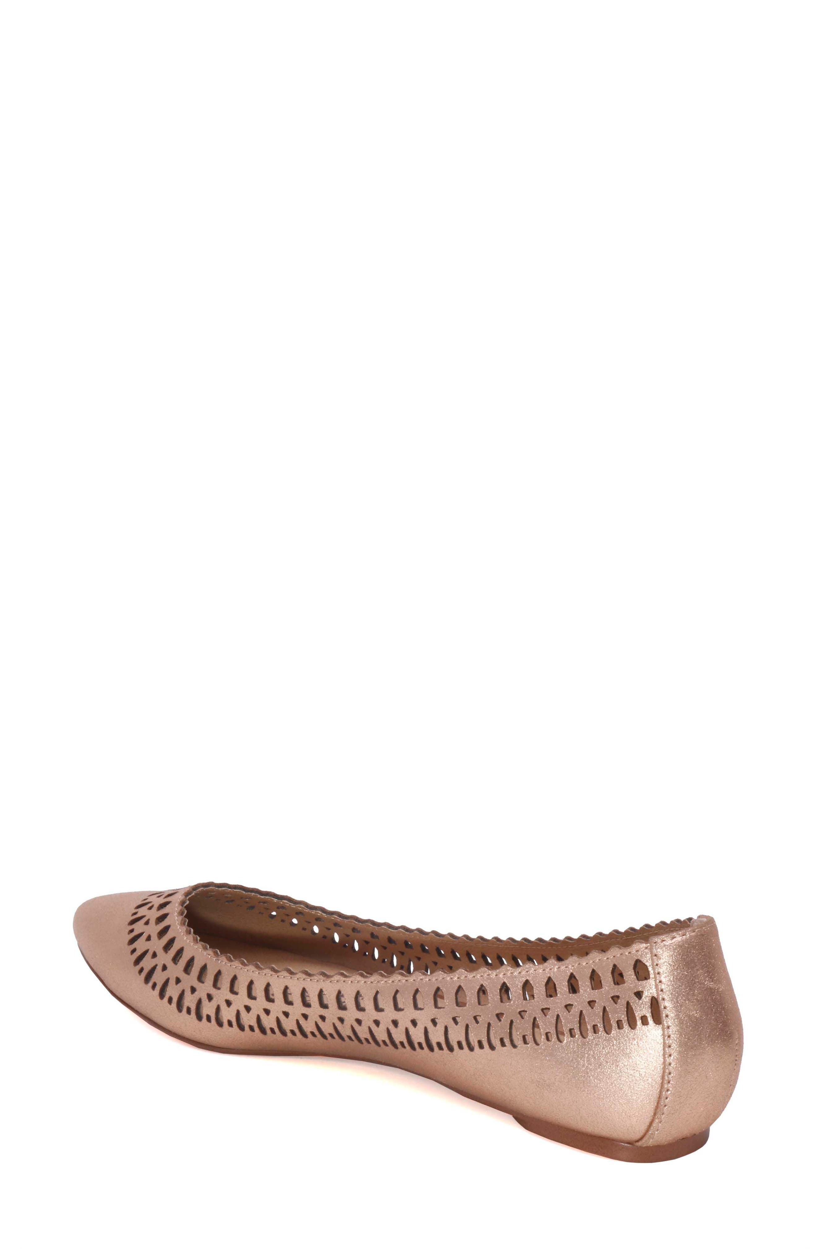 Cora Flat,                             Alternate thumbnail 2, color,                             Rose Gold Leather