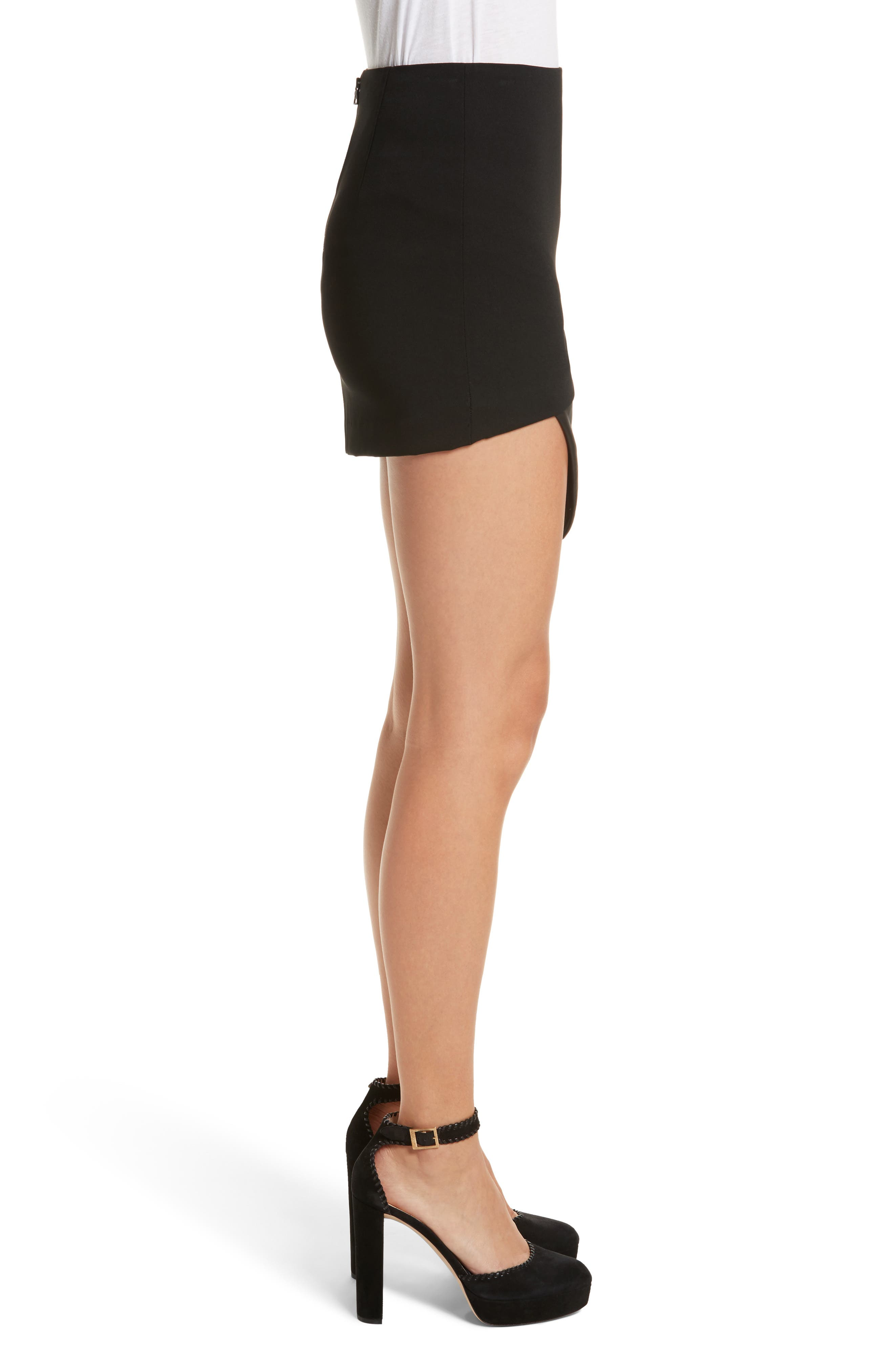Dora Asymmetrical Miniskirt,                             Alternate thumbnail 4, color,                             Black
