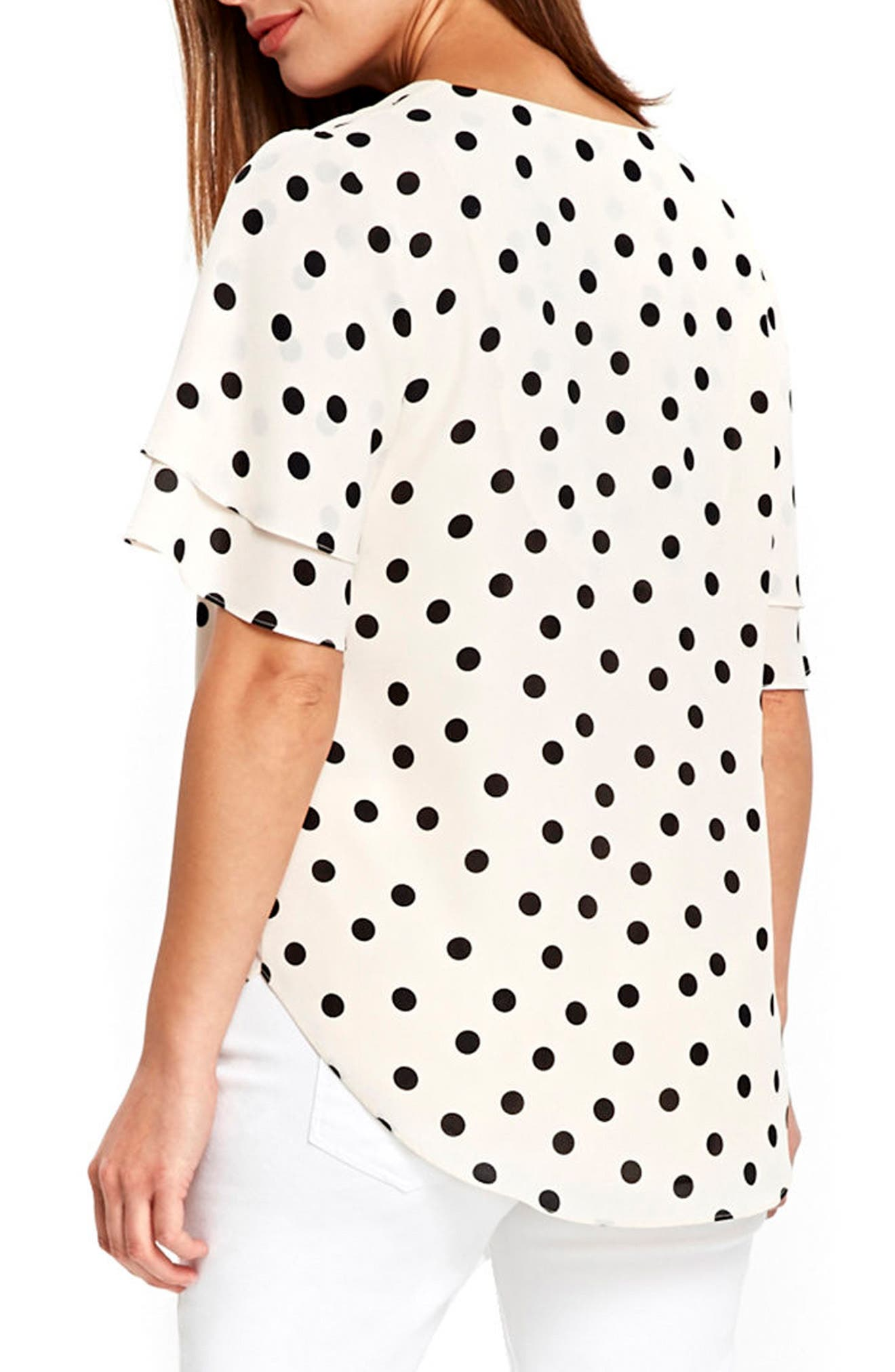 Spot Double Sleeve Top,                             Alternate thumbnail 3, color,                             Ivory/ Black