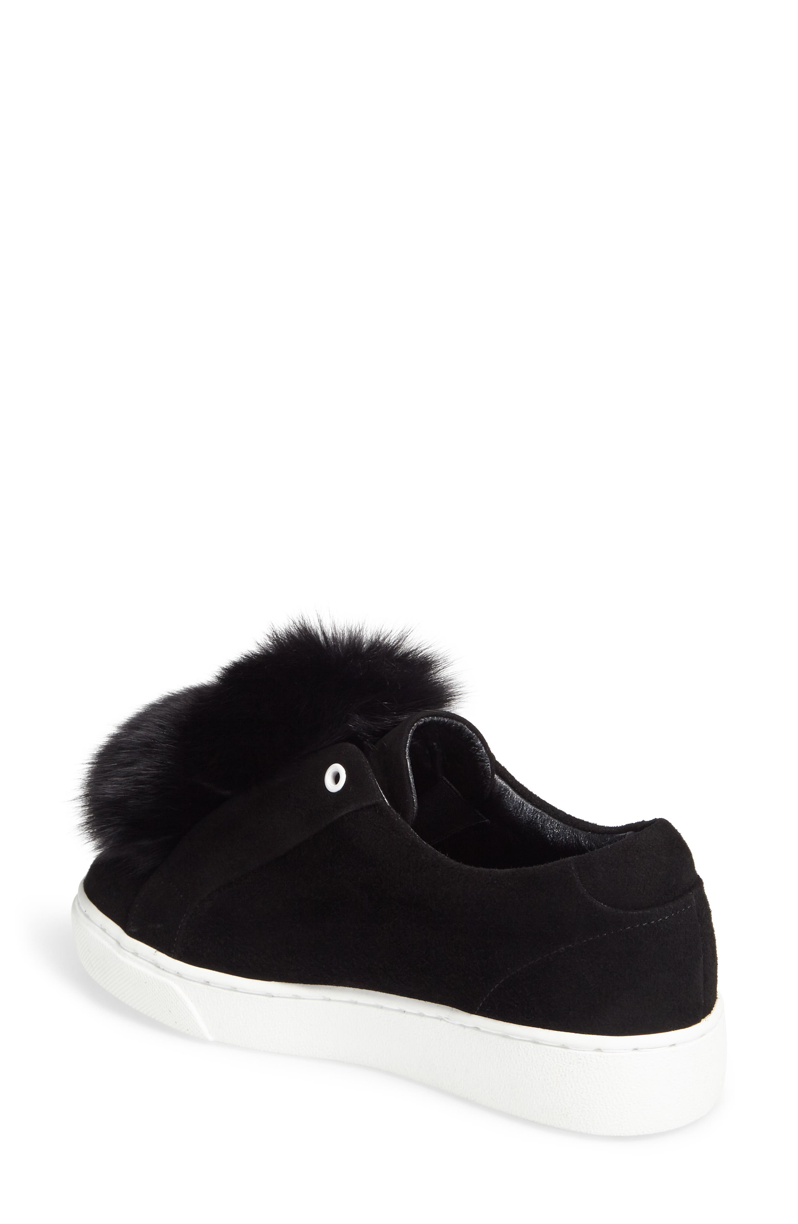 Raven Genuine Fox Fur Trim Sneaker,                             Alternate thumbnail 2, color,                             Black Suede