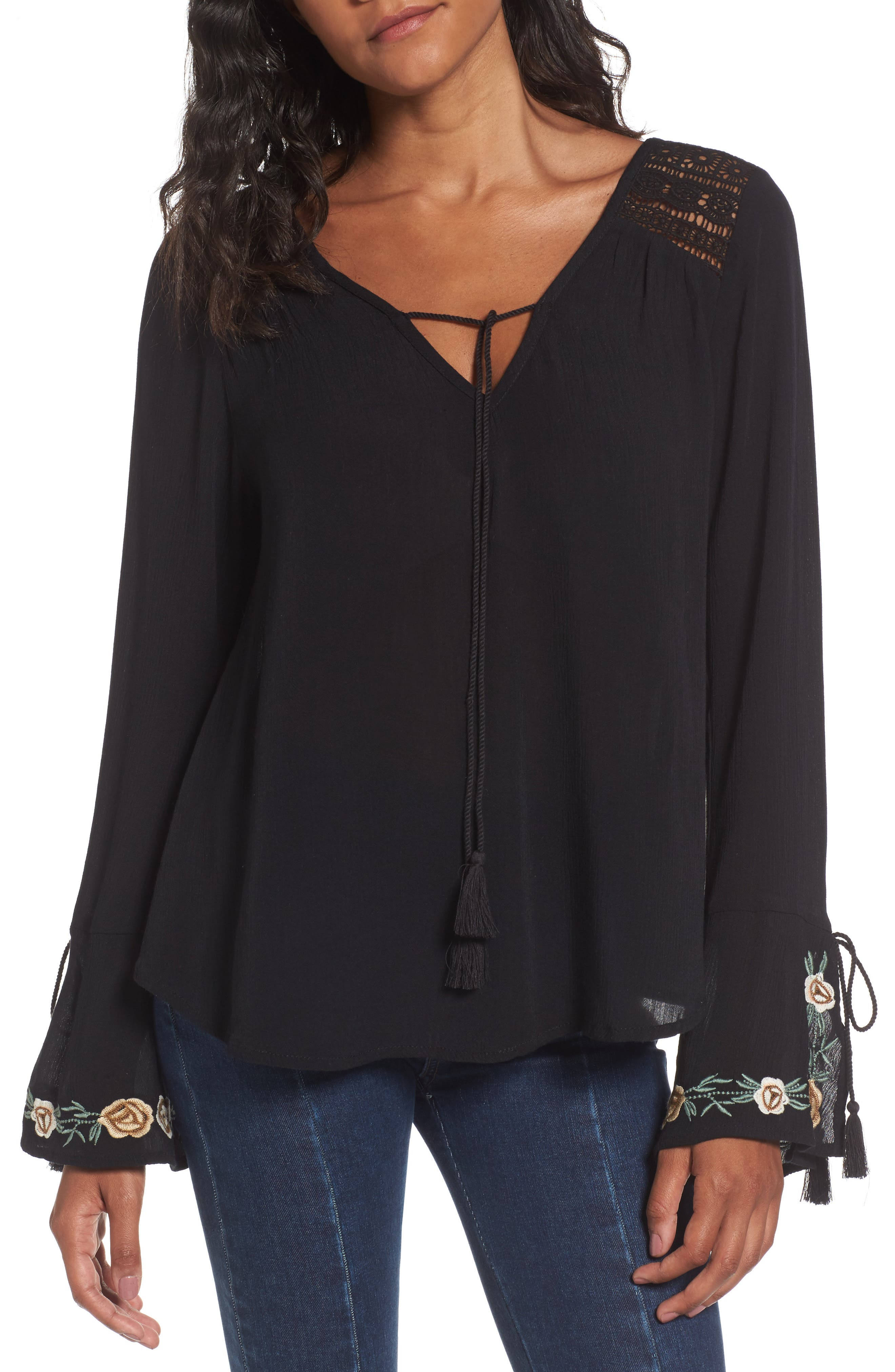 Band of Gypsies Floral Embroidered Top