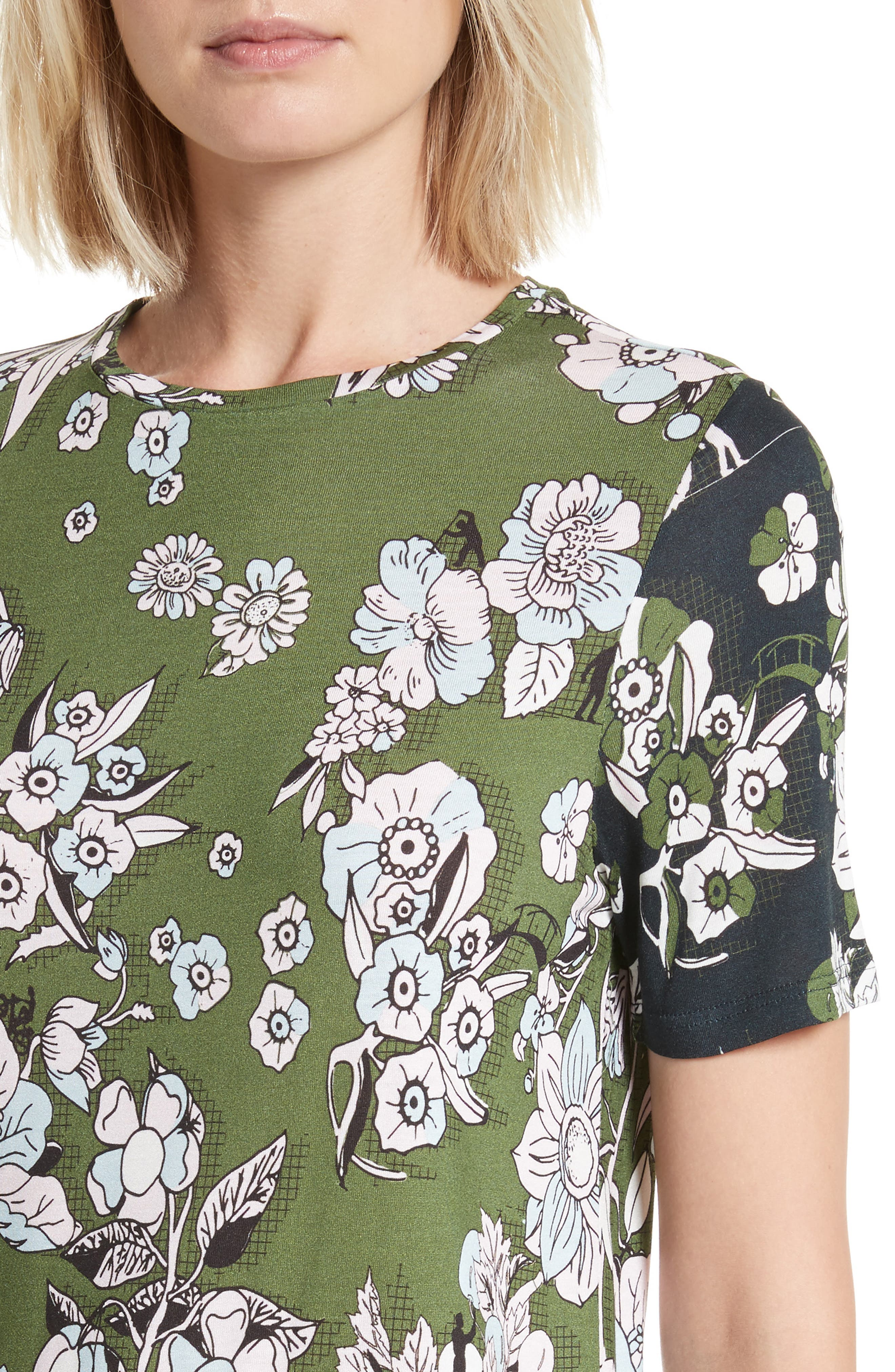Adren Floral Print Tee,                             Alternate thumbnail 4, color,                             Green