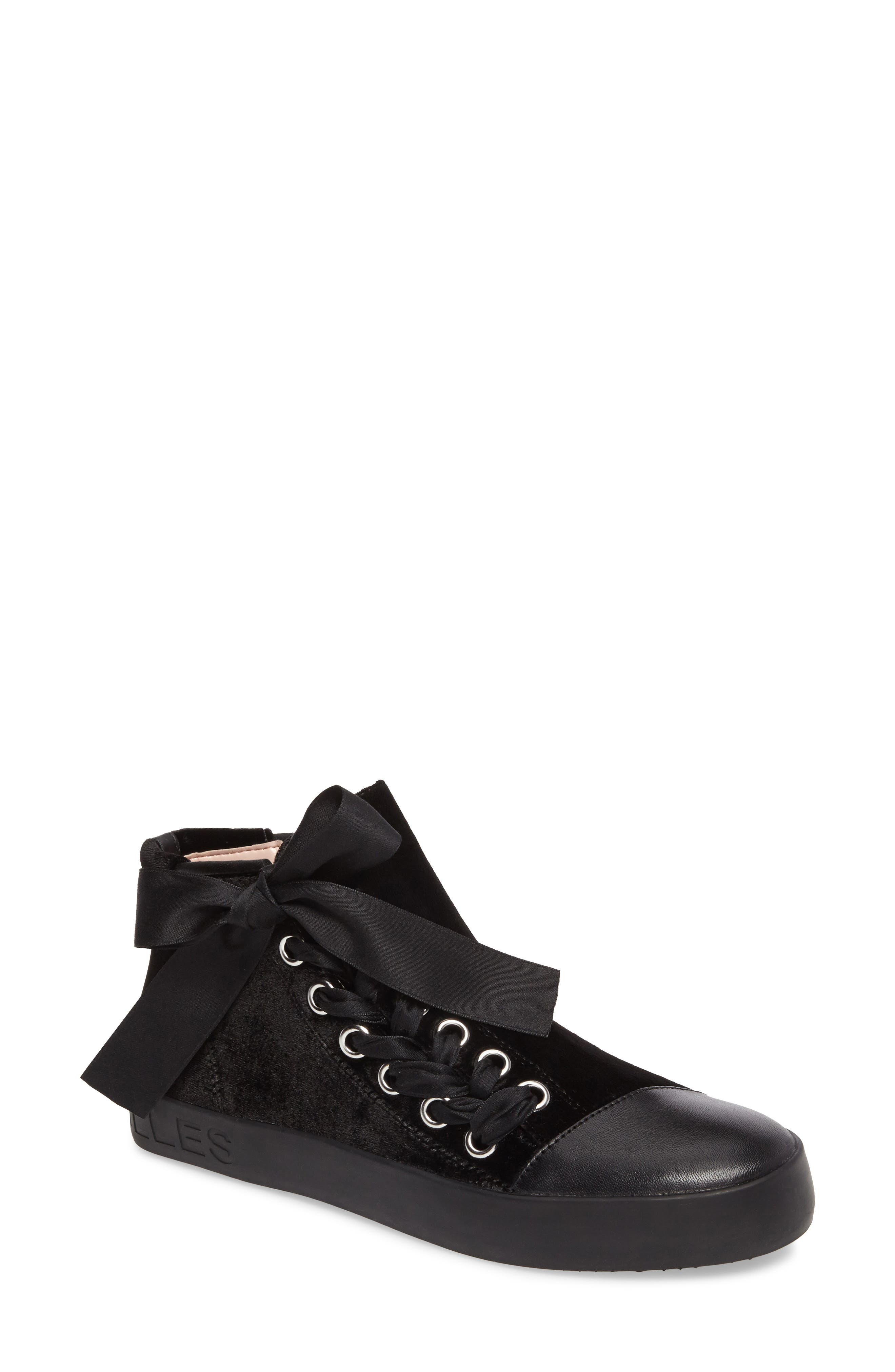 Valerie High Top Sneaker,                         Main,                         color, Black Fabric\Leather