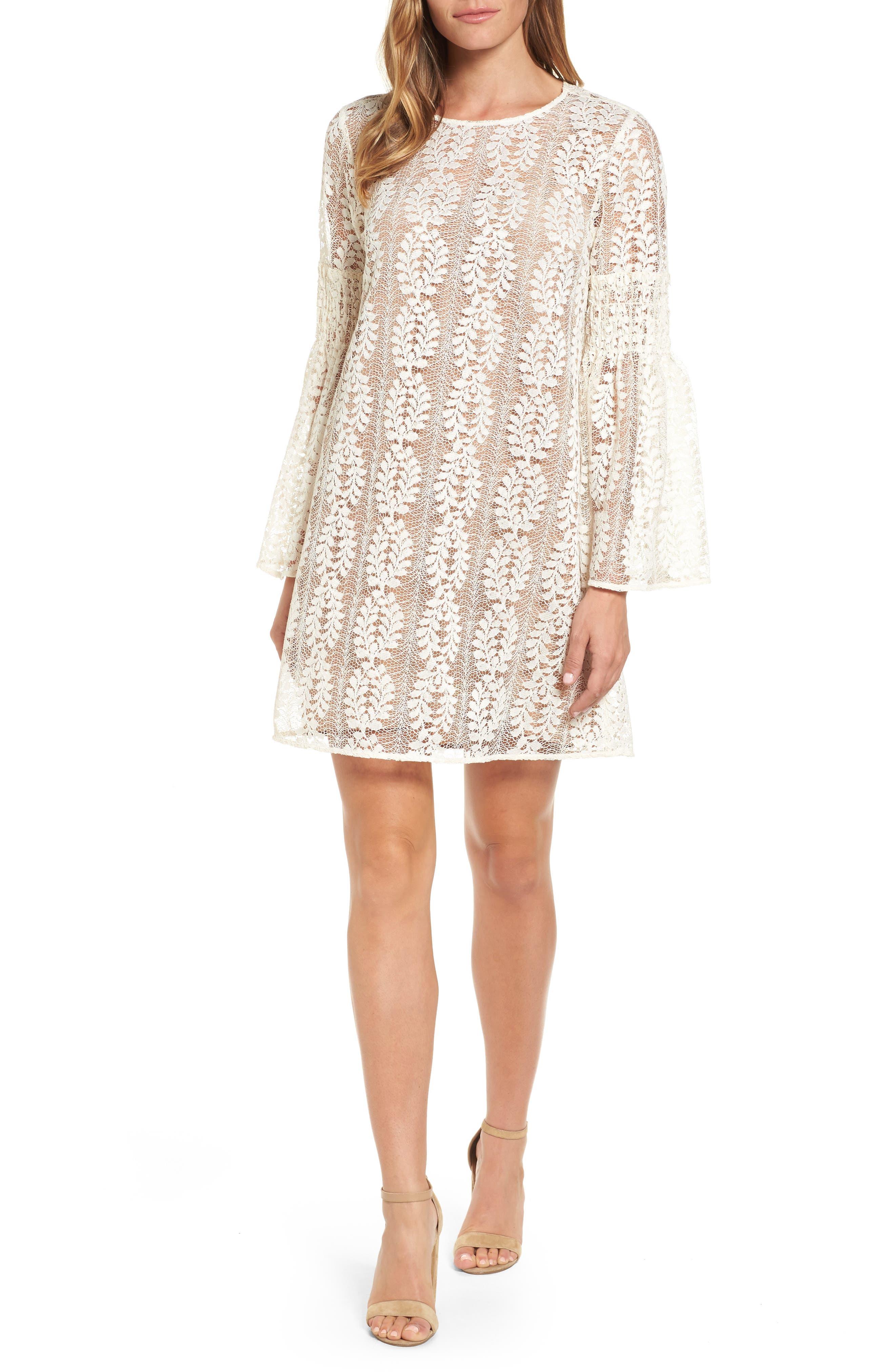 MICHAEL Michael Kors Bell Sleeve Lace Shift Dress